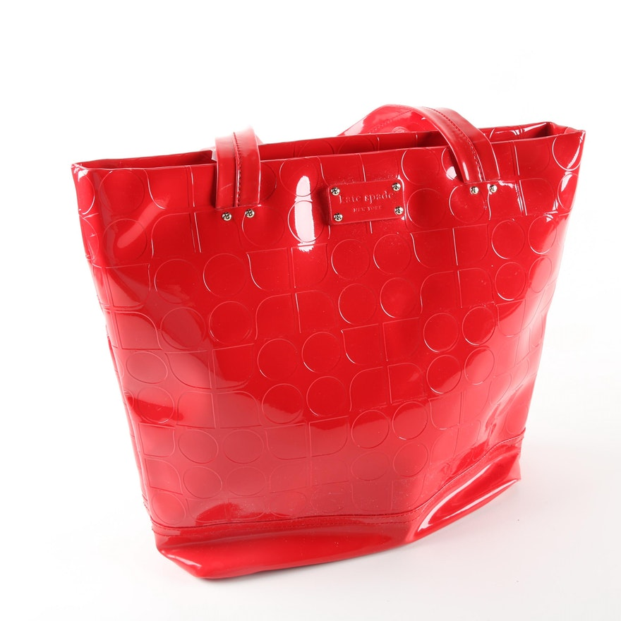 Kate Spade New York Red Patent Leather Tote Bag