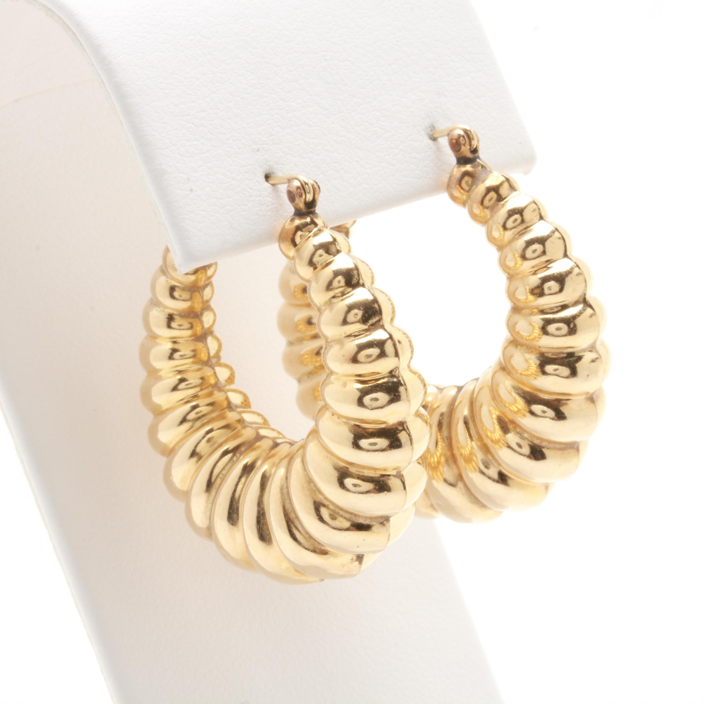 14K Yellow Gold Beveled Hoop Earrings
