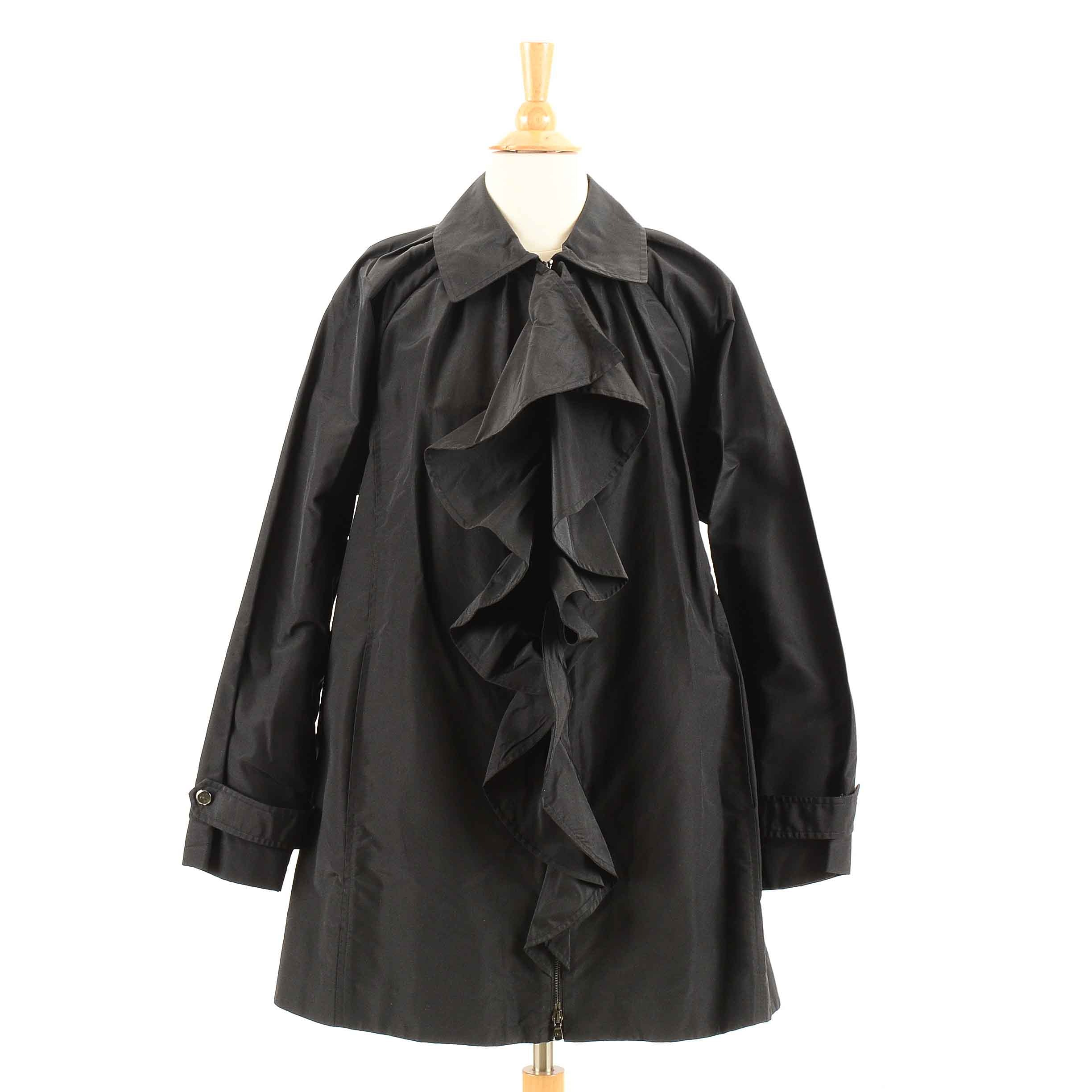 Women's Black Silk Ralph Lauren Coat With Ruffle Front