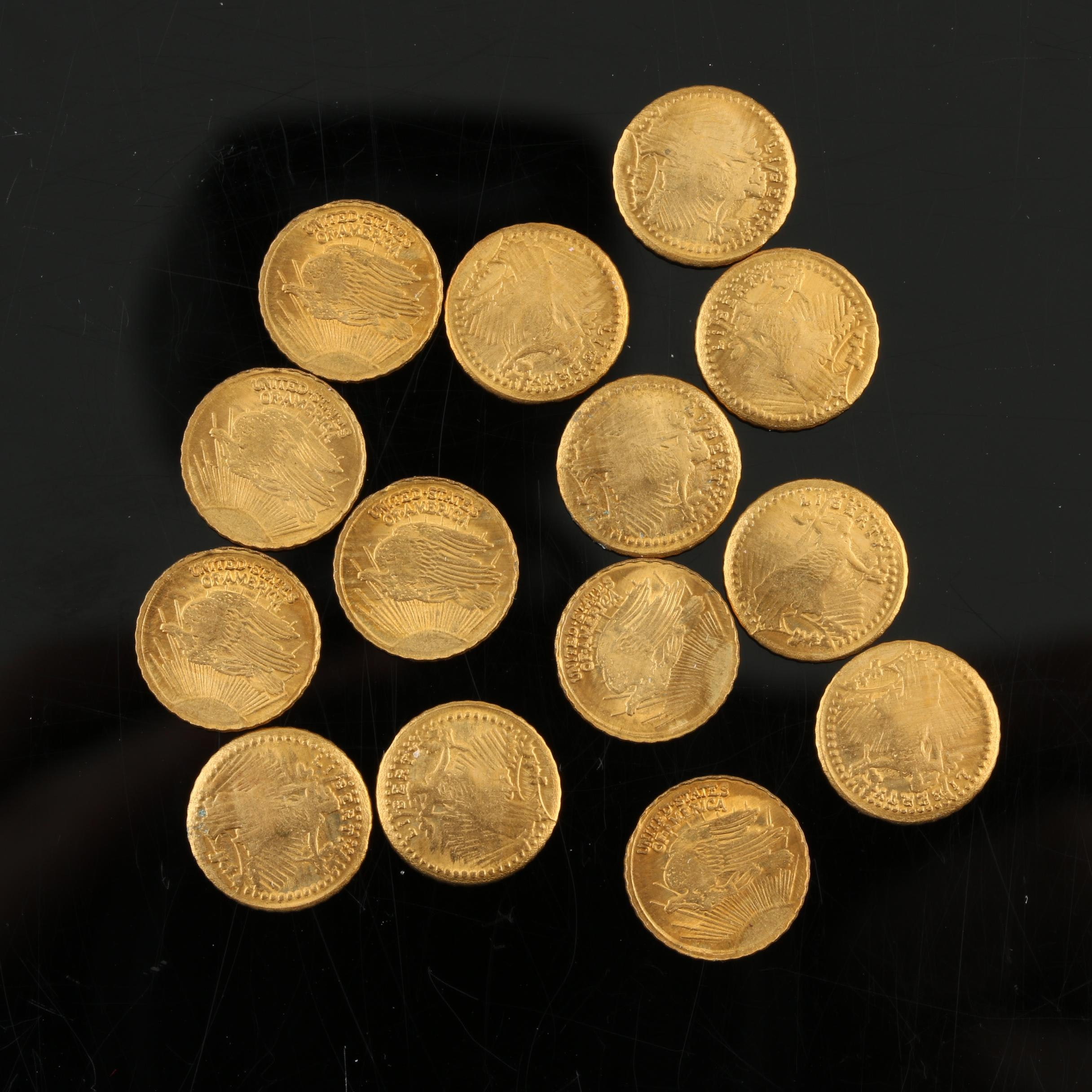 Group of Fourteen Walking Liberty 1/2 Gram Copper Rounds