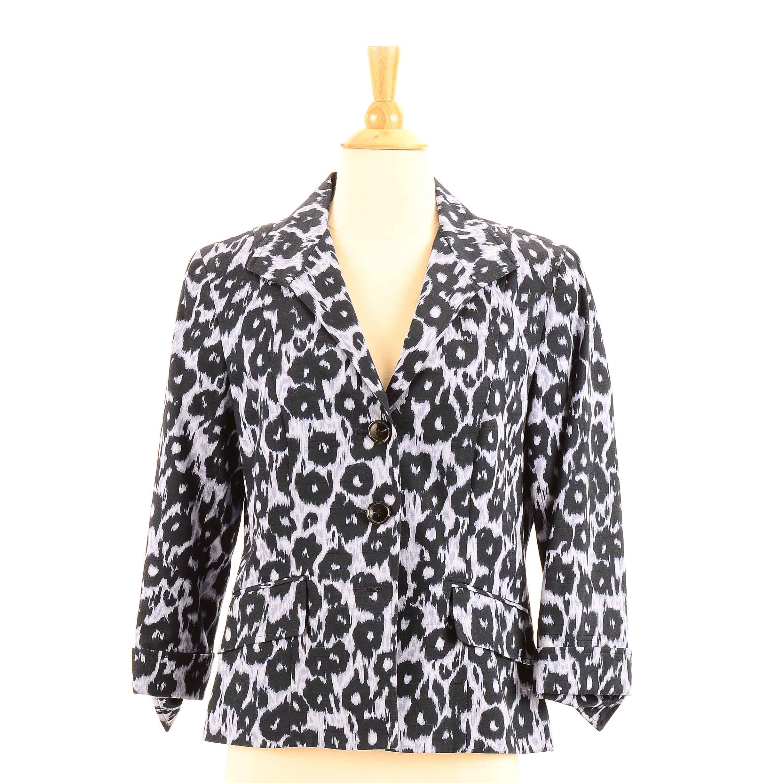 Women's Lafayette 148 Navy and Purple Leopard Print Cotton Jacket