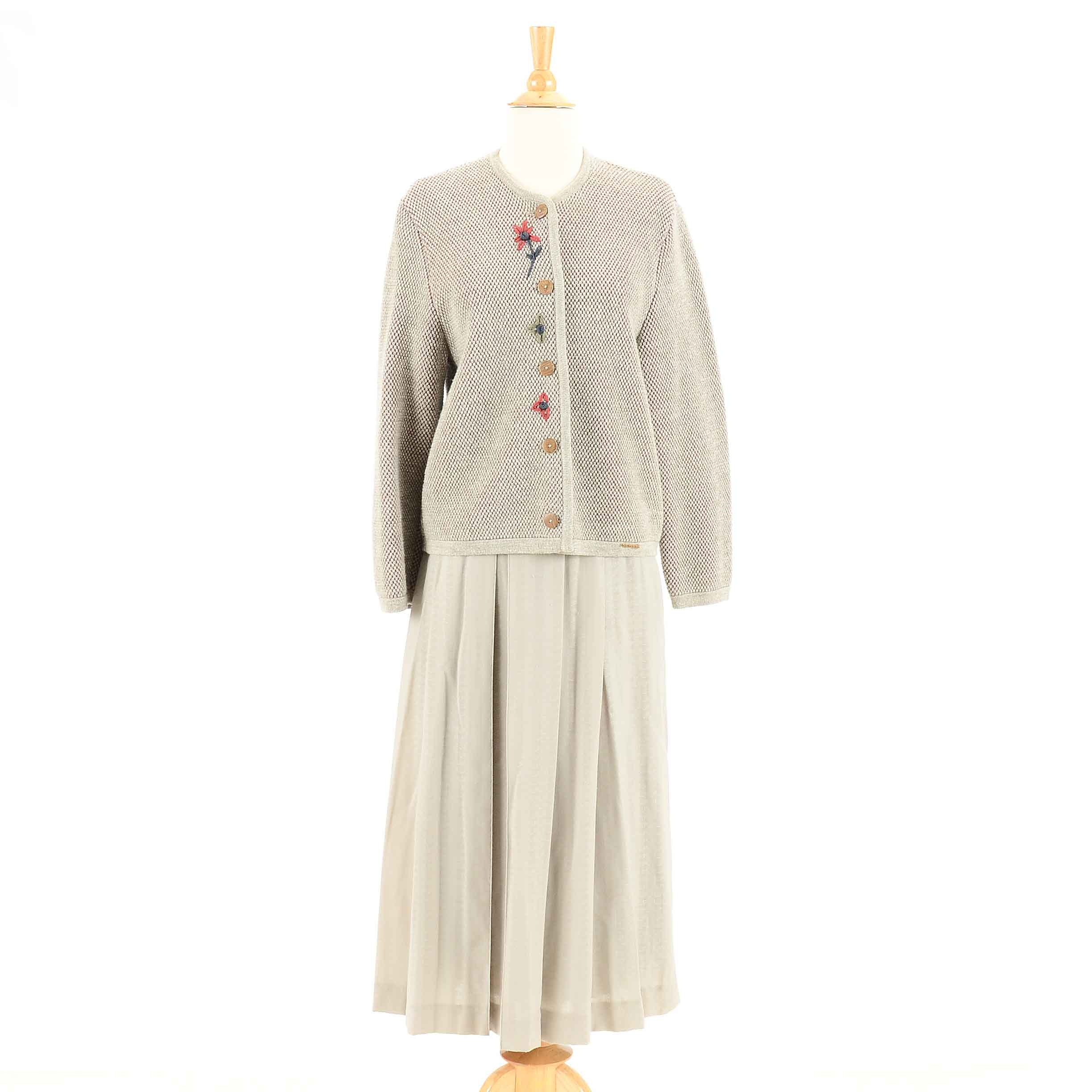 Women's Geiger Taupe Sweater Jacket and Pleated Skirt