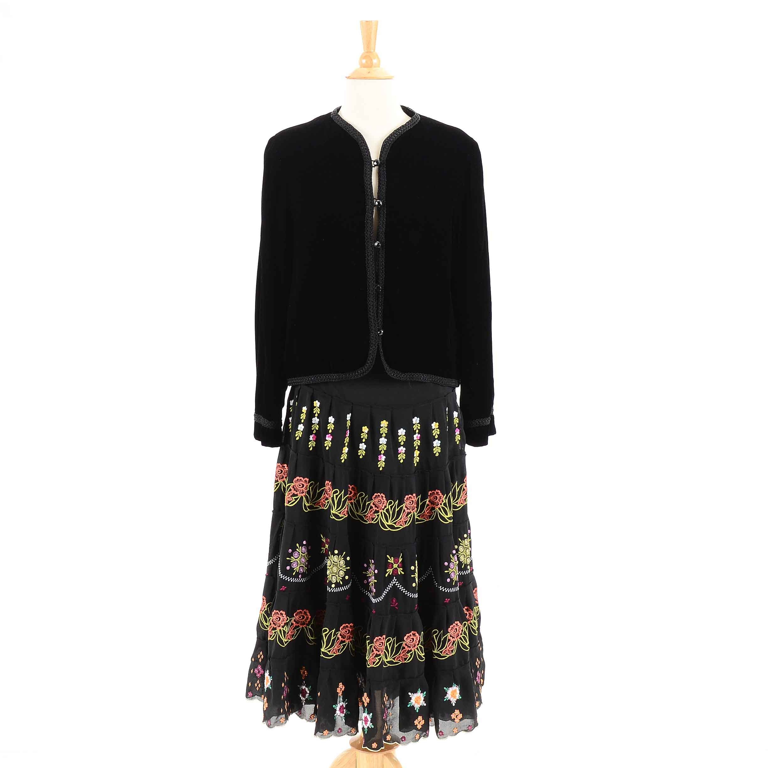 Embroidered Floral Black Silk Skirt and Velvet Jacket