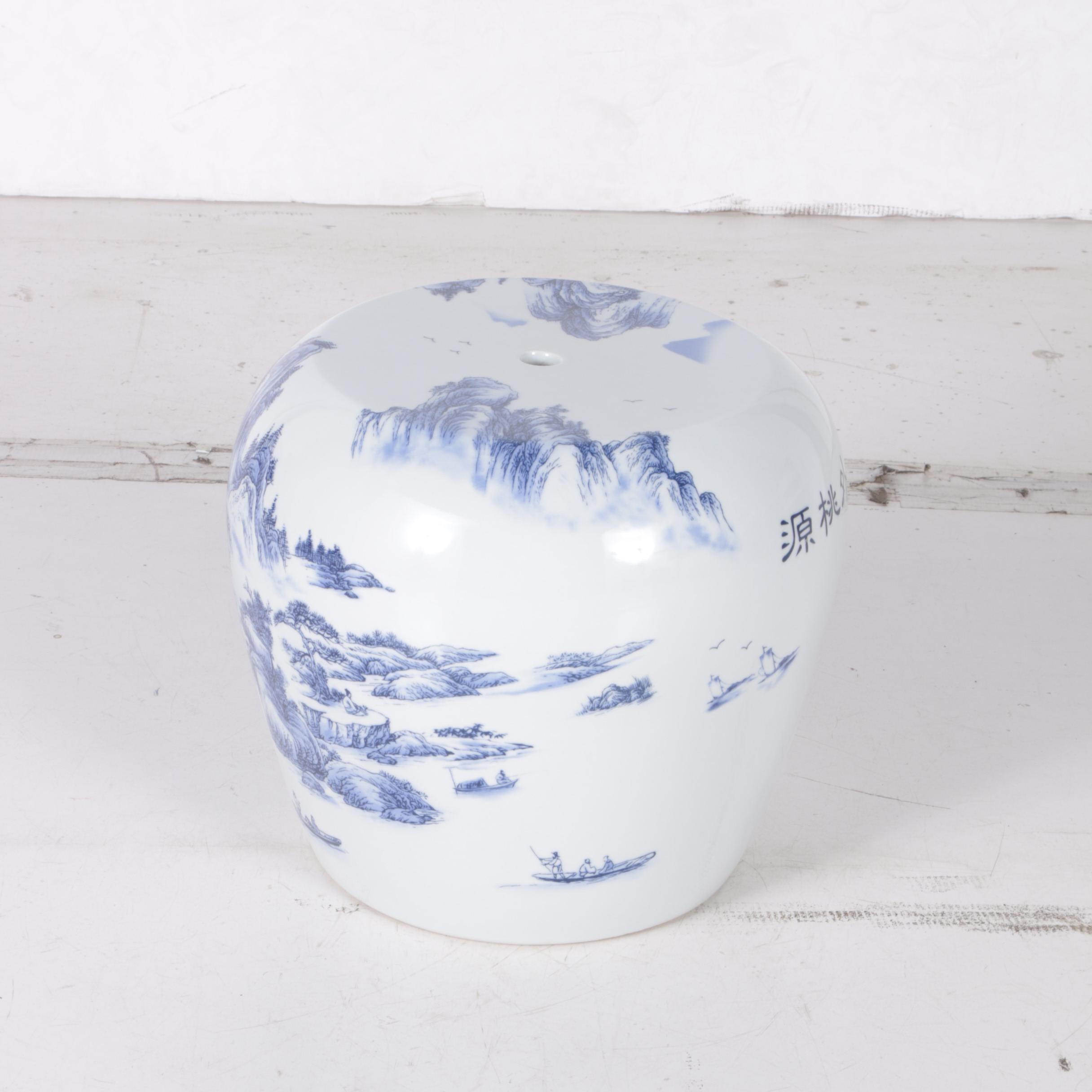 Chinese White and Blue Painted Ceramic Garden Stool