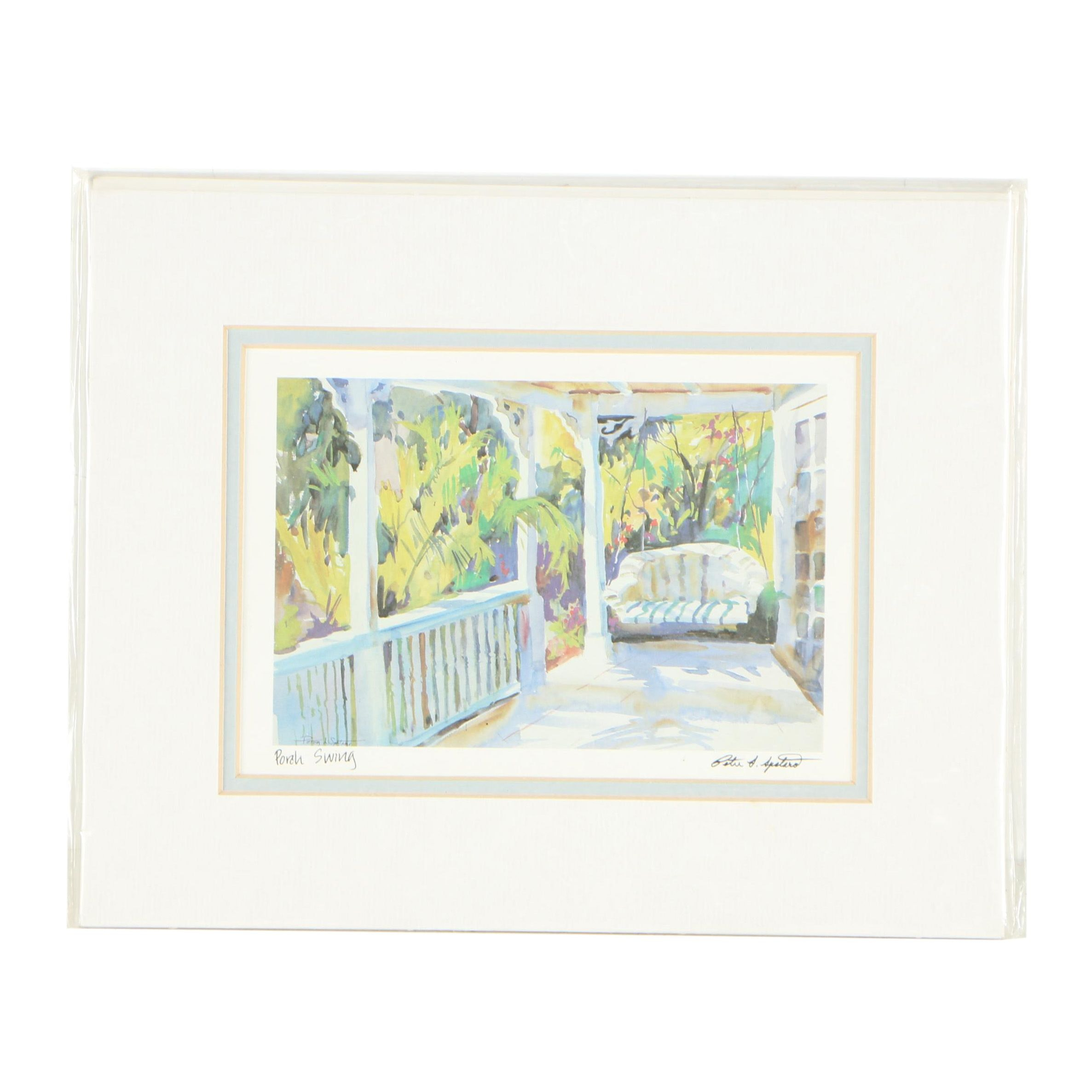 """Offset Lithograph After Peter L. Spataro """"Porch Swing"""""""