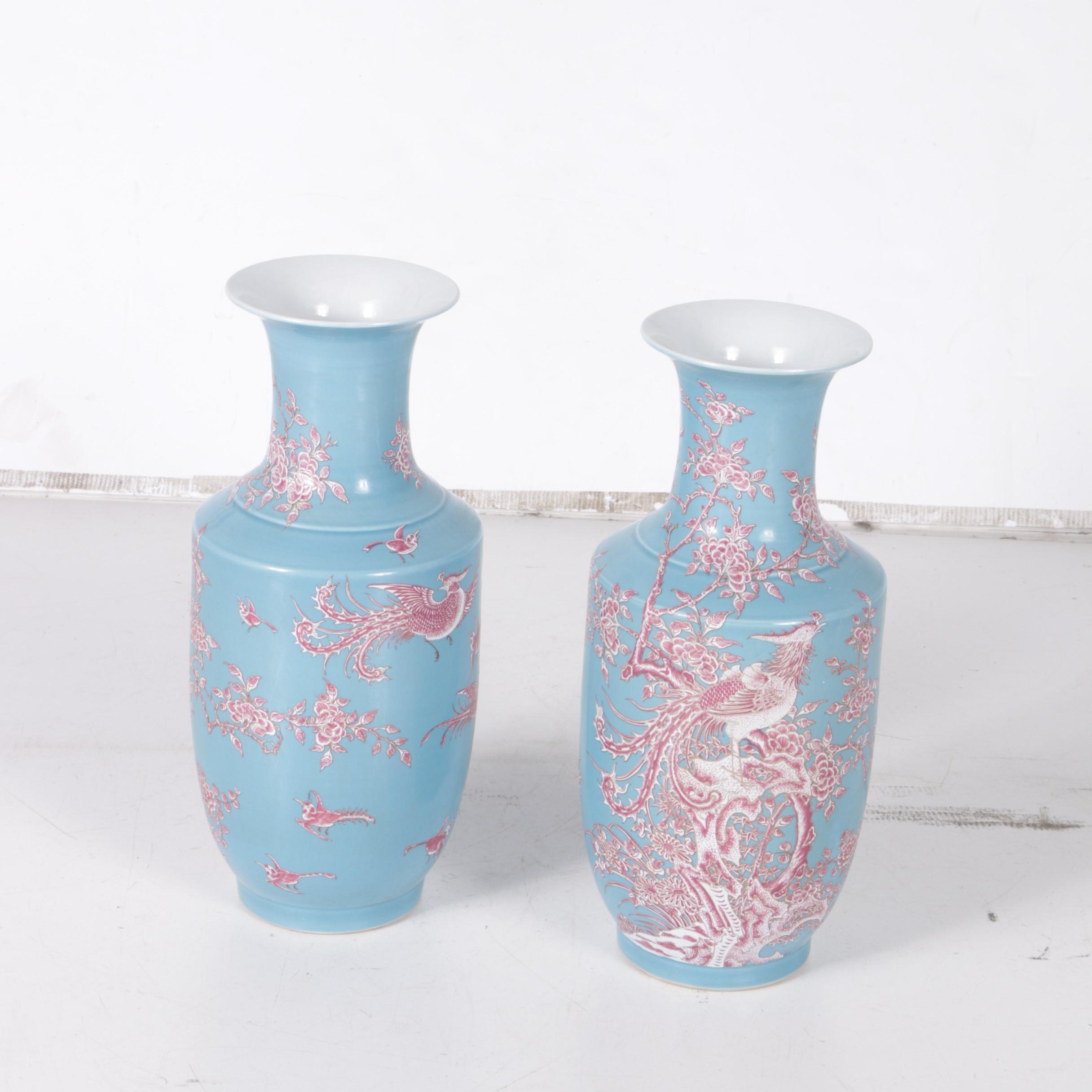 Chinese Aqua and Magenta Bird Motif Vases