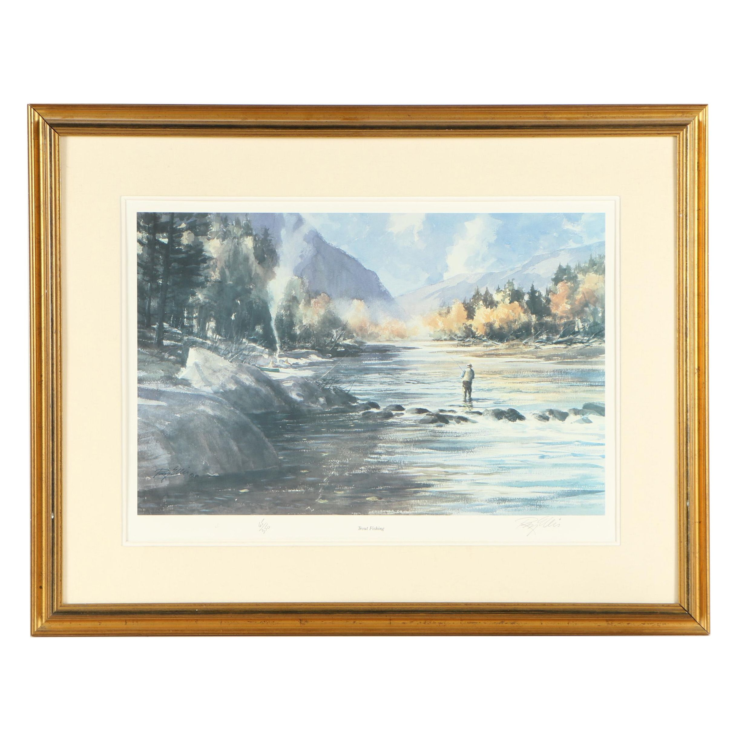 "Ray Ellis Limited Edition Offset Lithograph ""Trout Fishing"""