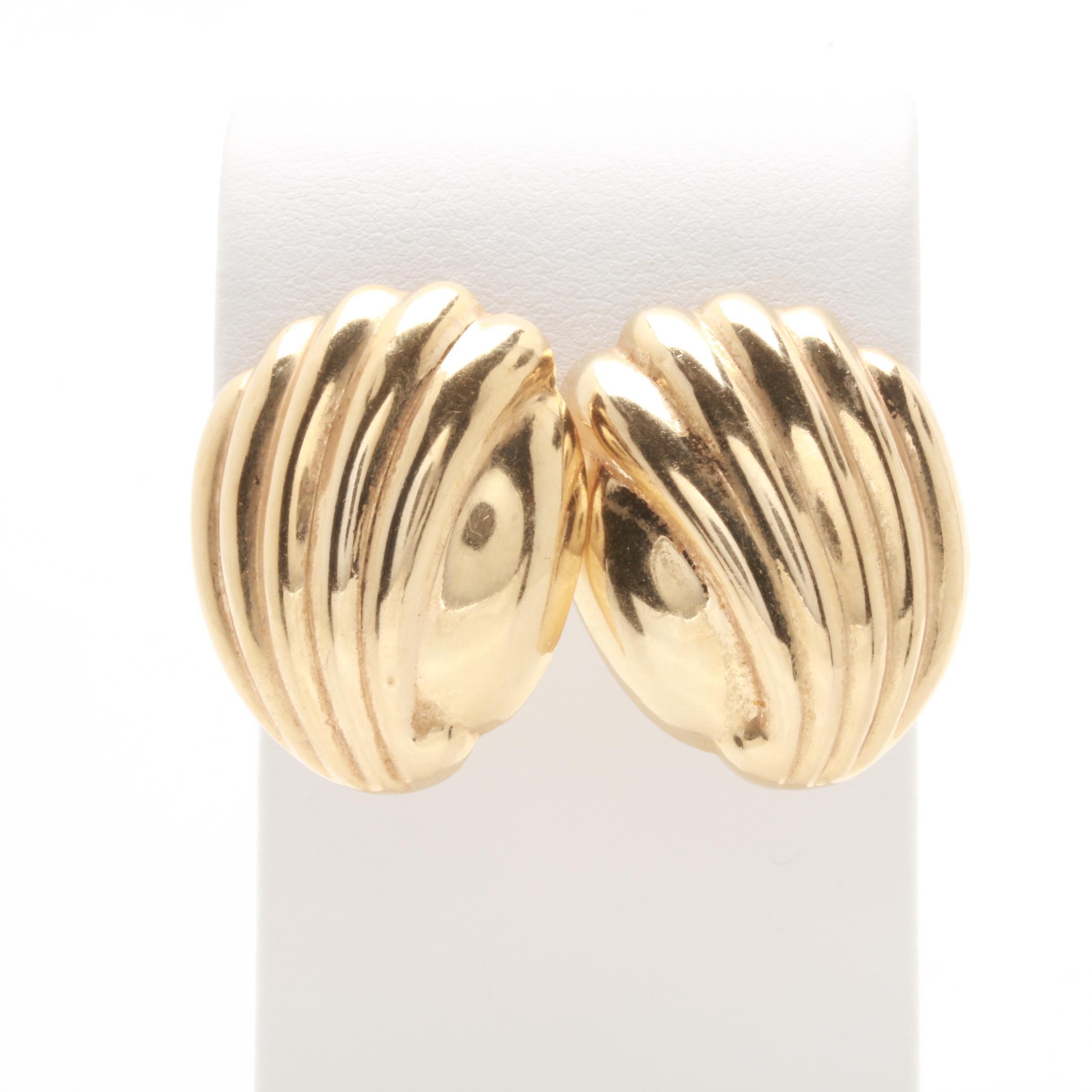 14K Yellow Gold Beveled Earrings
