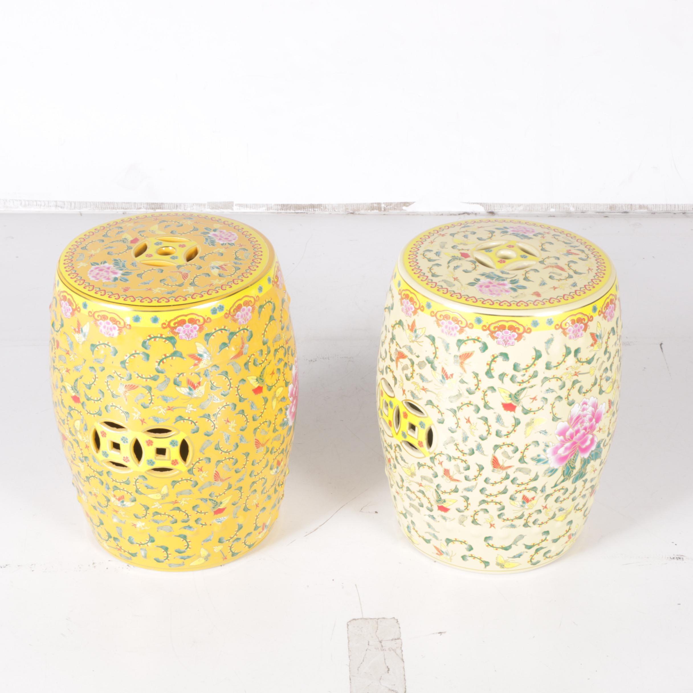 Pair of Chinese Decorative Ceramic Garden Stools