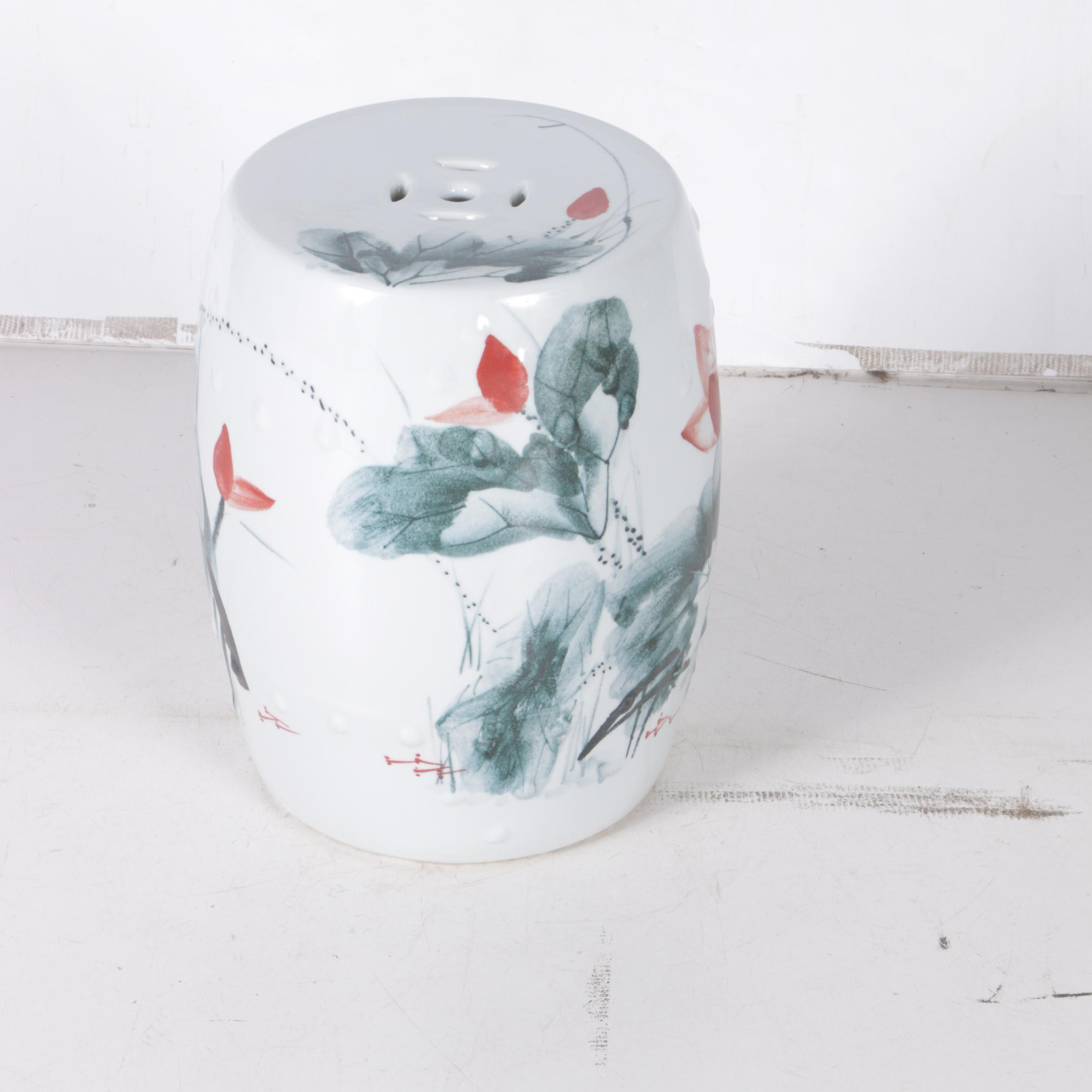 Chinese Floral Painted Ceramic Garden Stool