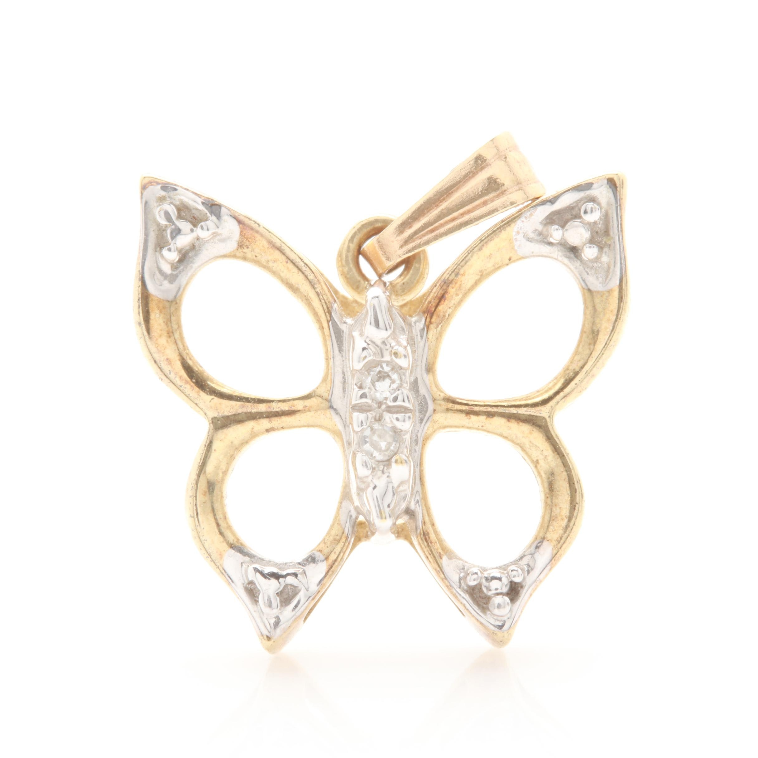 10K Yellow Gold Diamond Butterfly Pendant with White Gold Accents