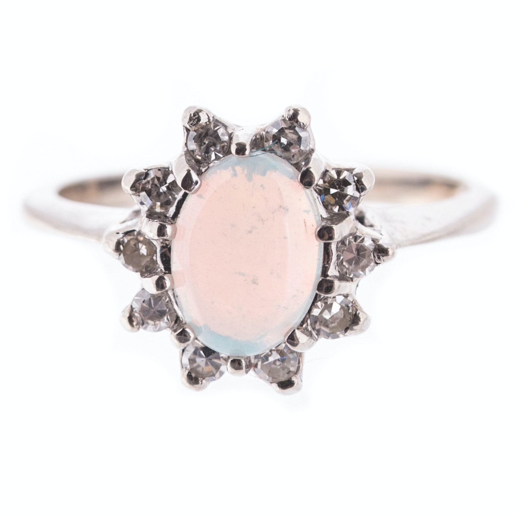 14K White Gold, Opal, and Diamond Halo Ring