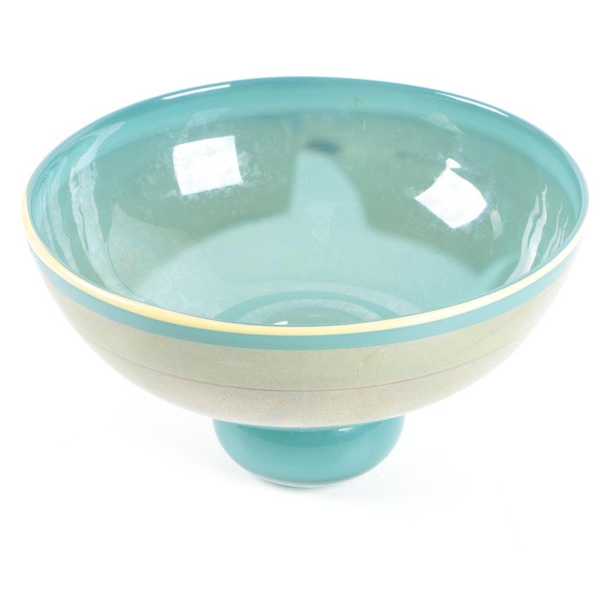 modern signed art glass bowl ebth