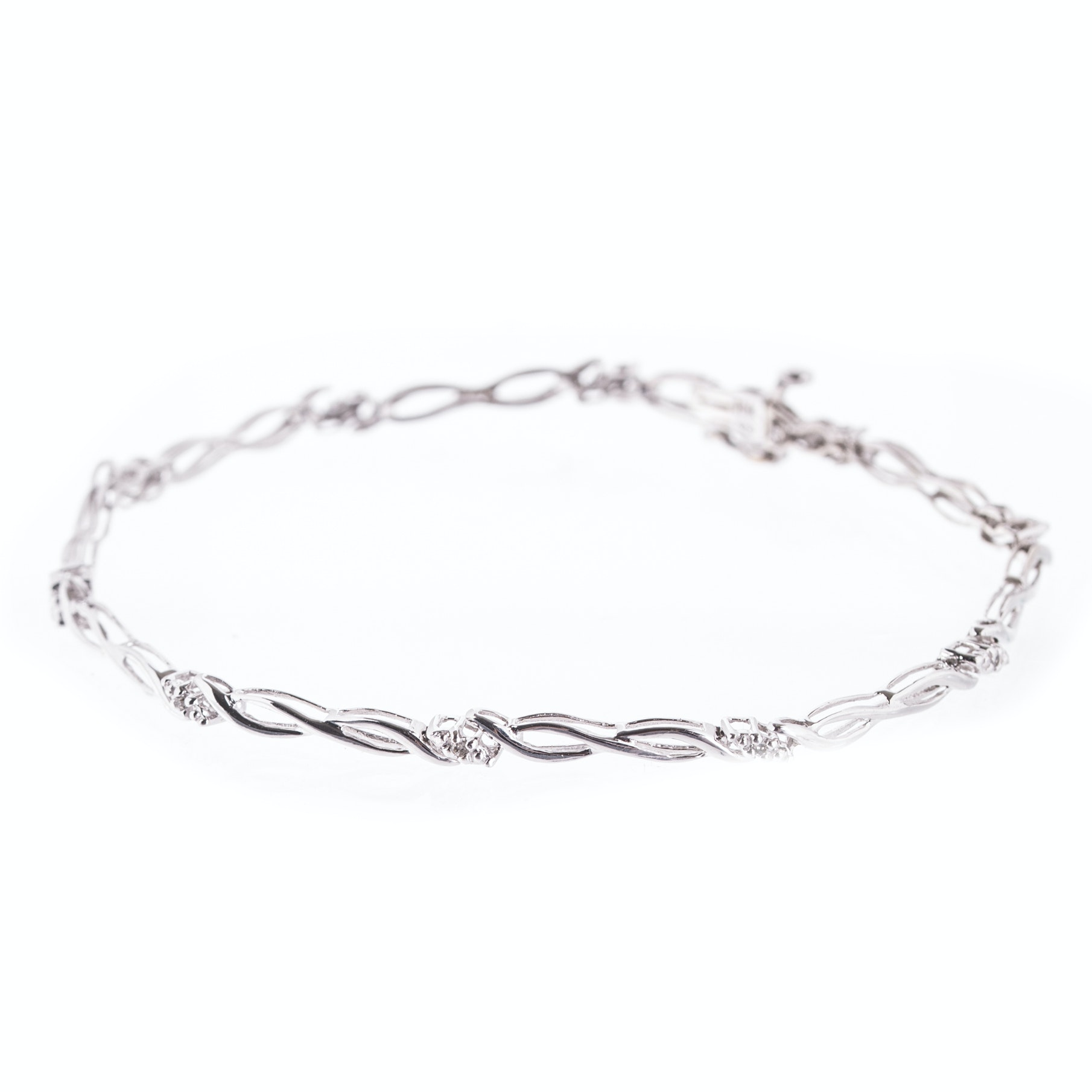10K White Gold and Diamond Fancy Link Tennis Bracelet
