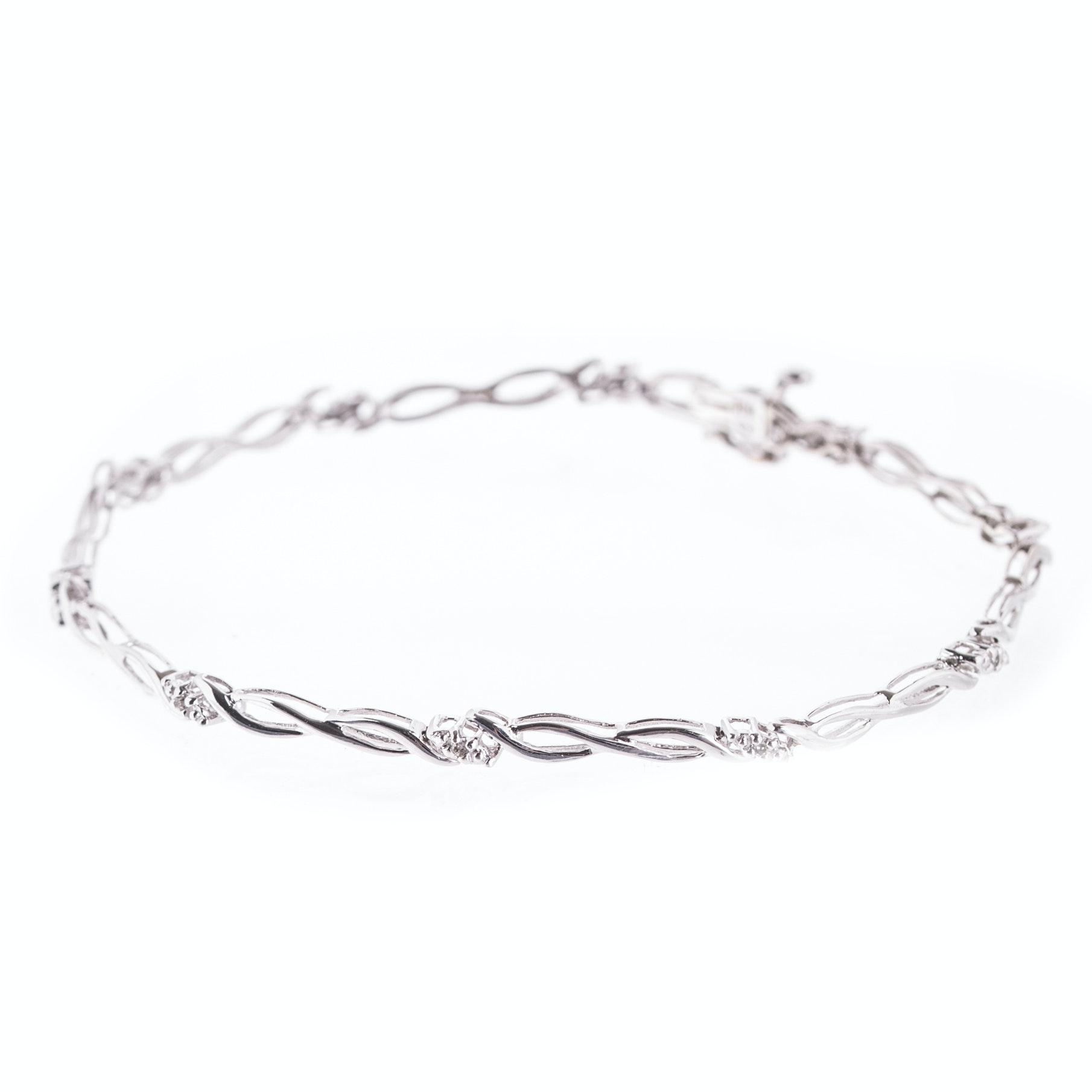 10K White Gold and Diamond Fancy Link Tennis Bracelet