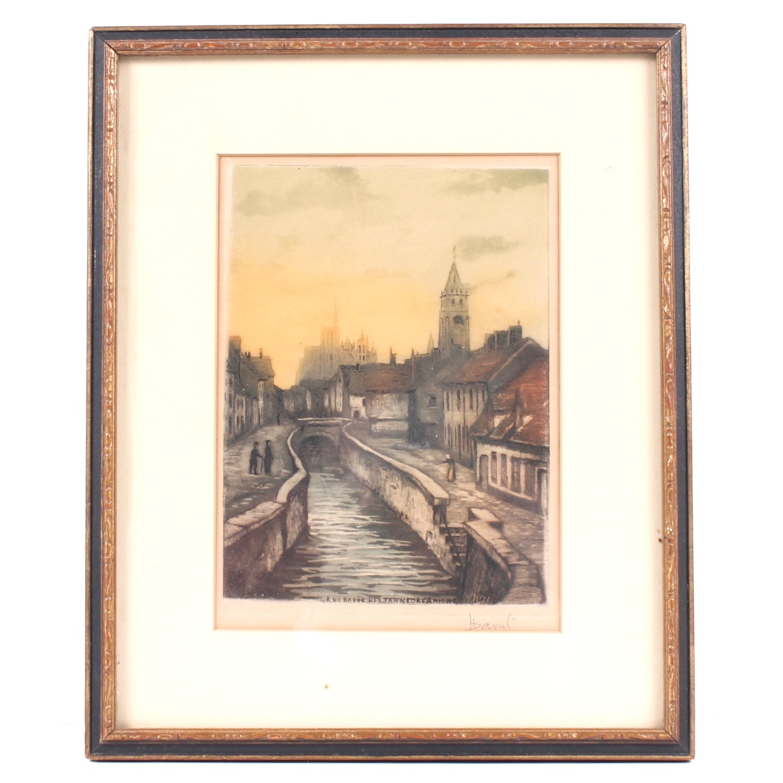 "Jean Louis Andre David Hand Tinted Etching ""Rue Basse des Tanneurs, Amiens"""