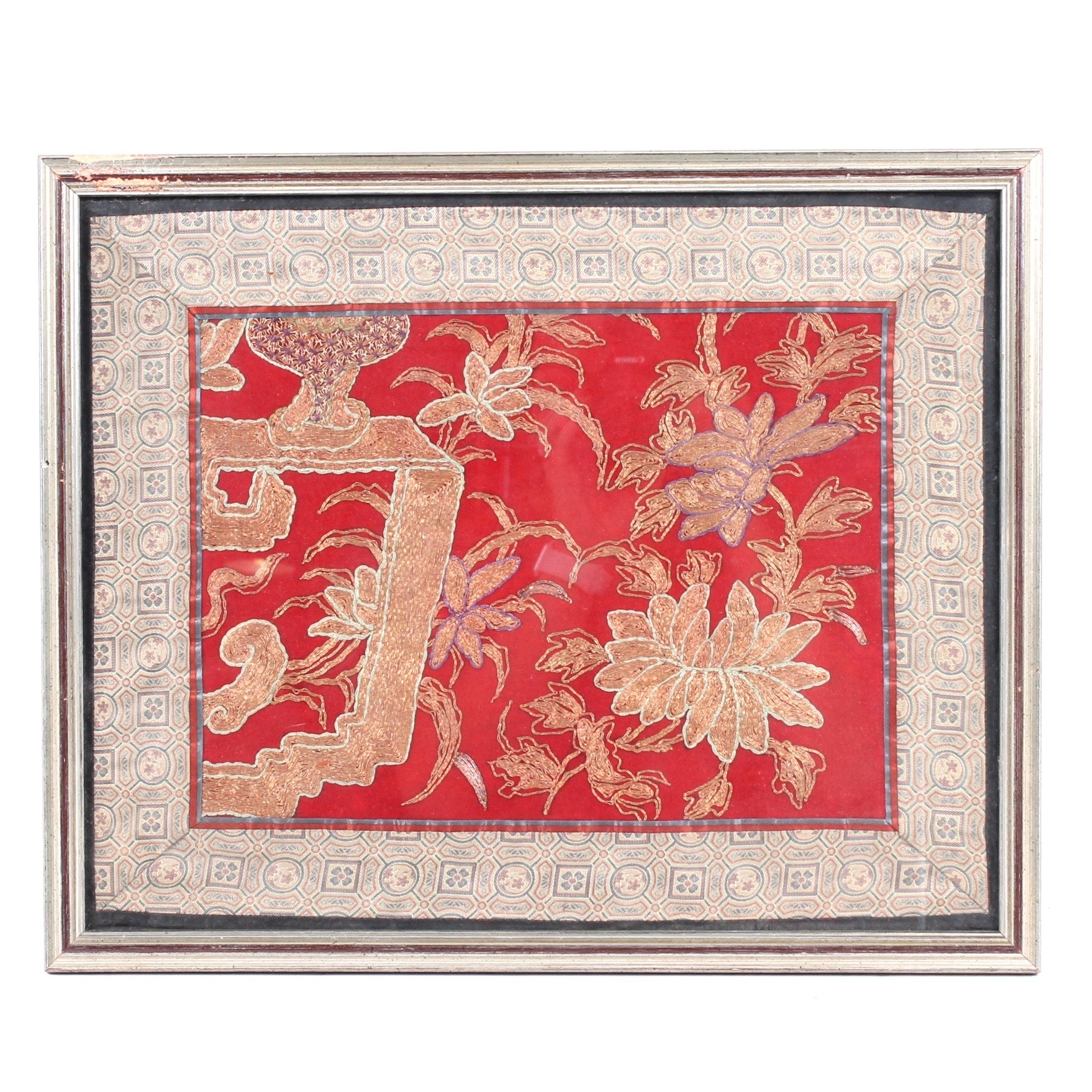 Antique Chinese Metallic Thread Embroidery
