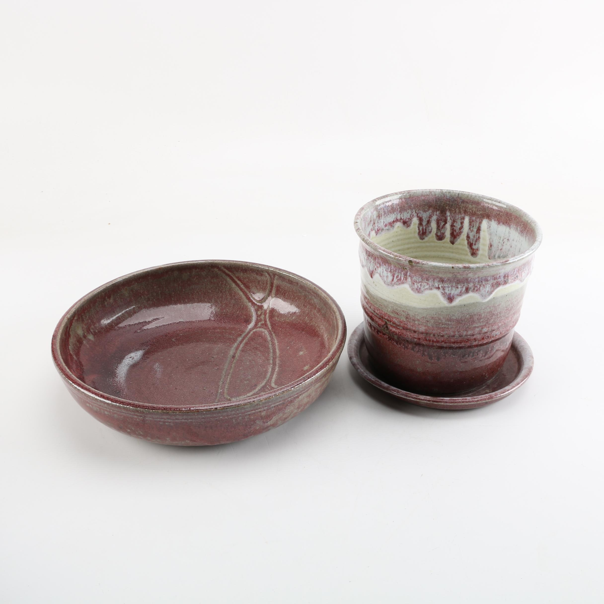 Signed Art Pottery Bowl and Planter