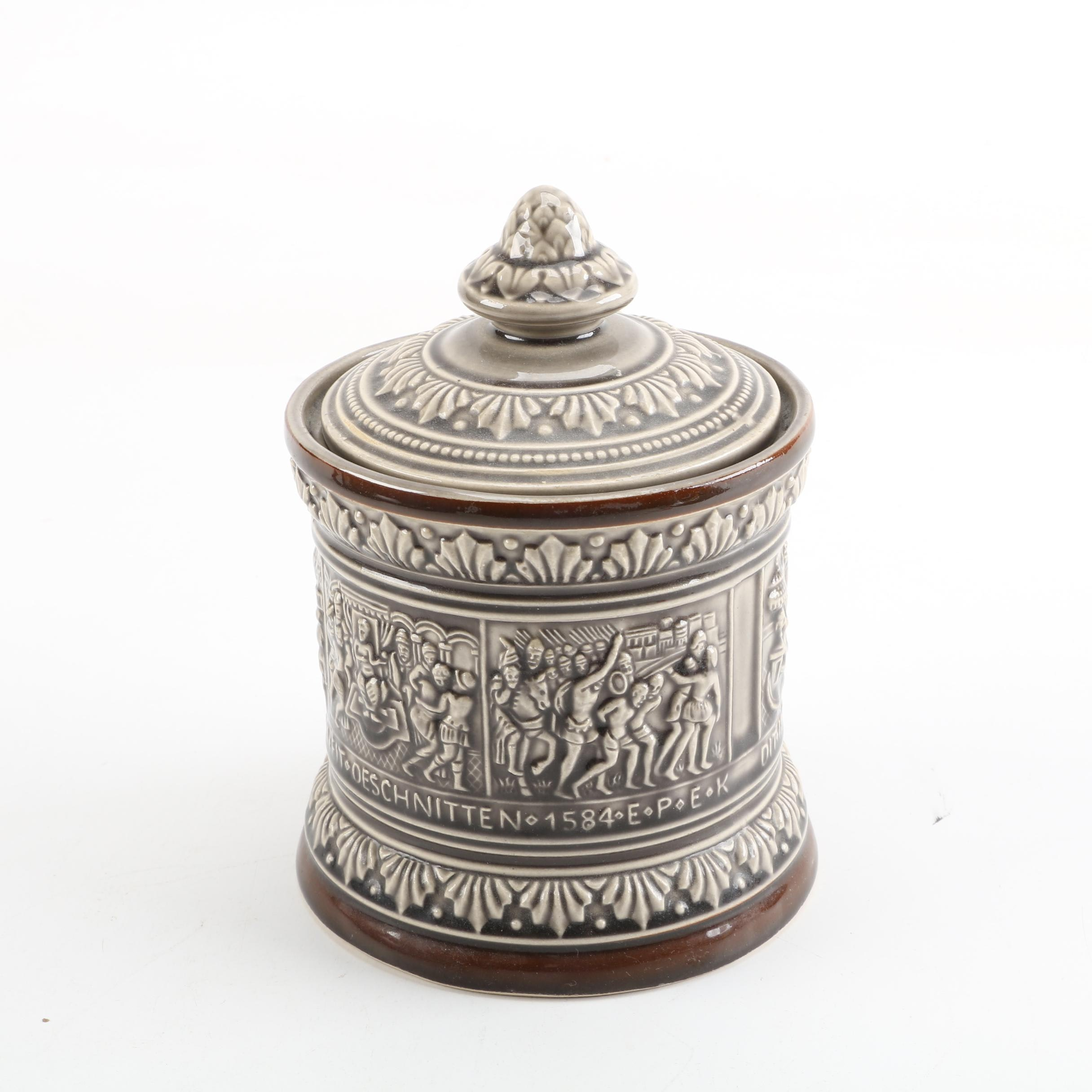 Marzi and Remy German Majolica Humidor Tobacco Jar