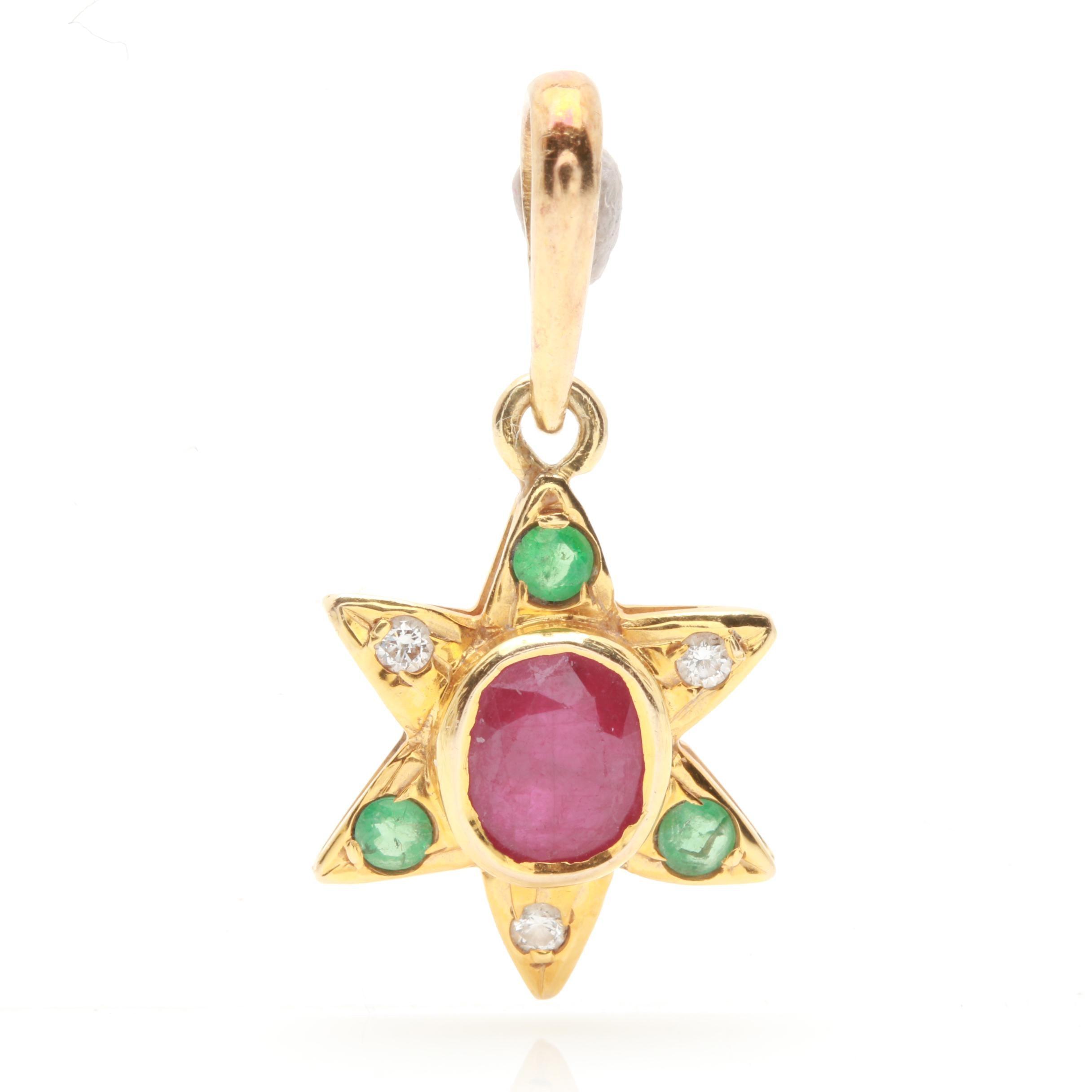 14K Yellow Gold Ruby, Emerald, and Diamond Star Pendant