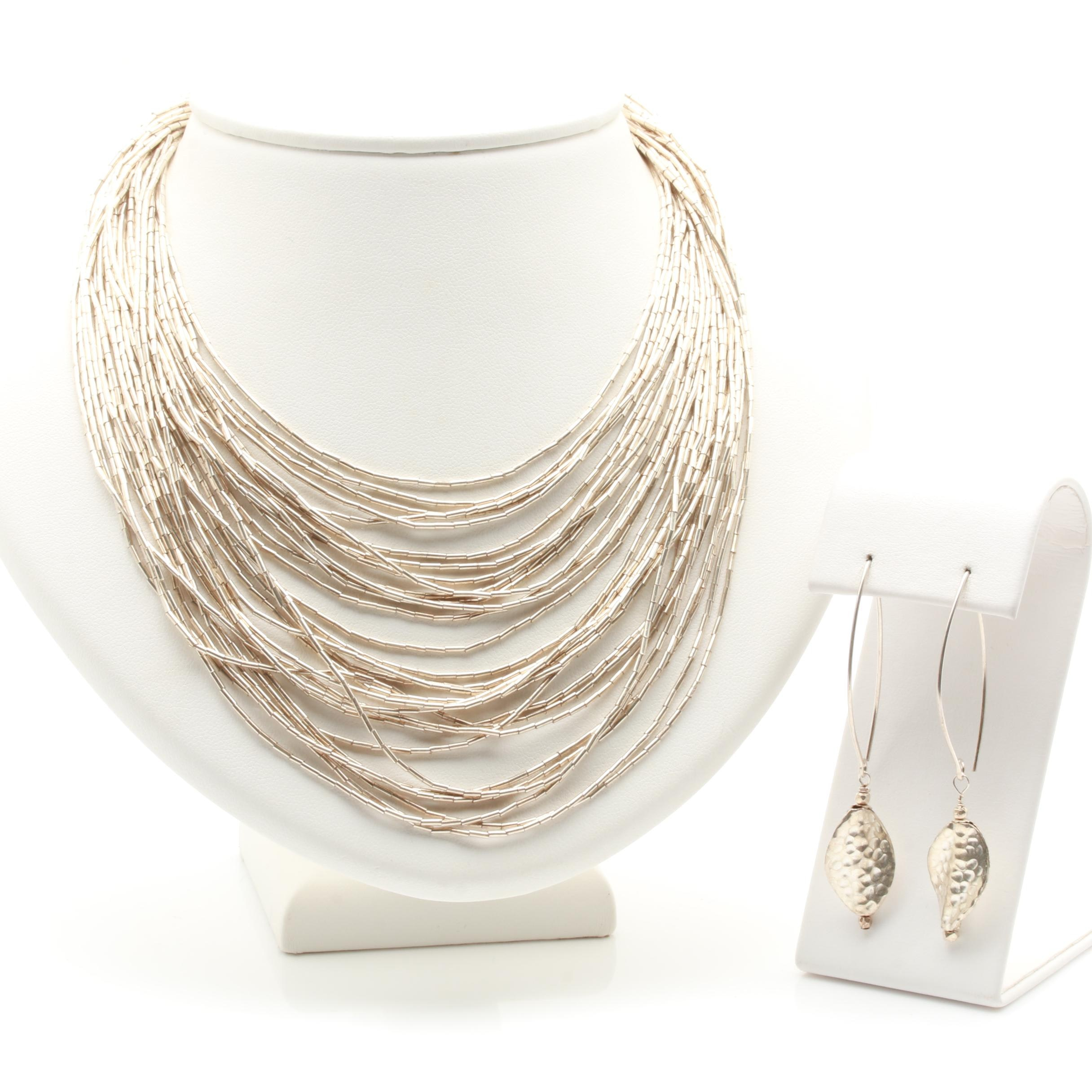 Sterling Silver Liquid Silver Necklace and Dangle Earrings