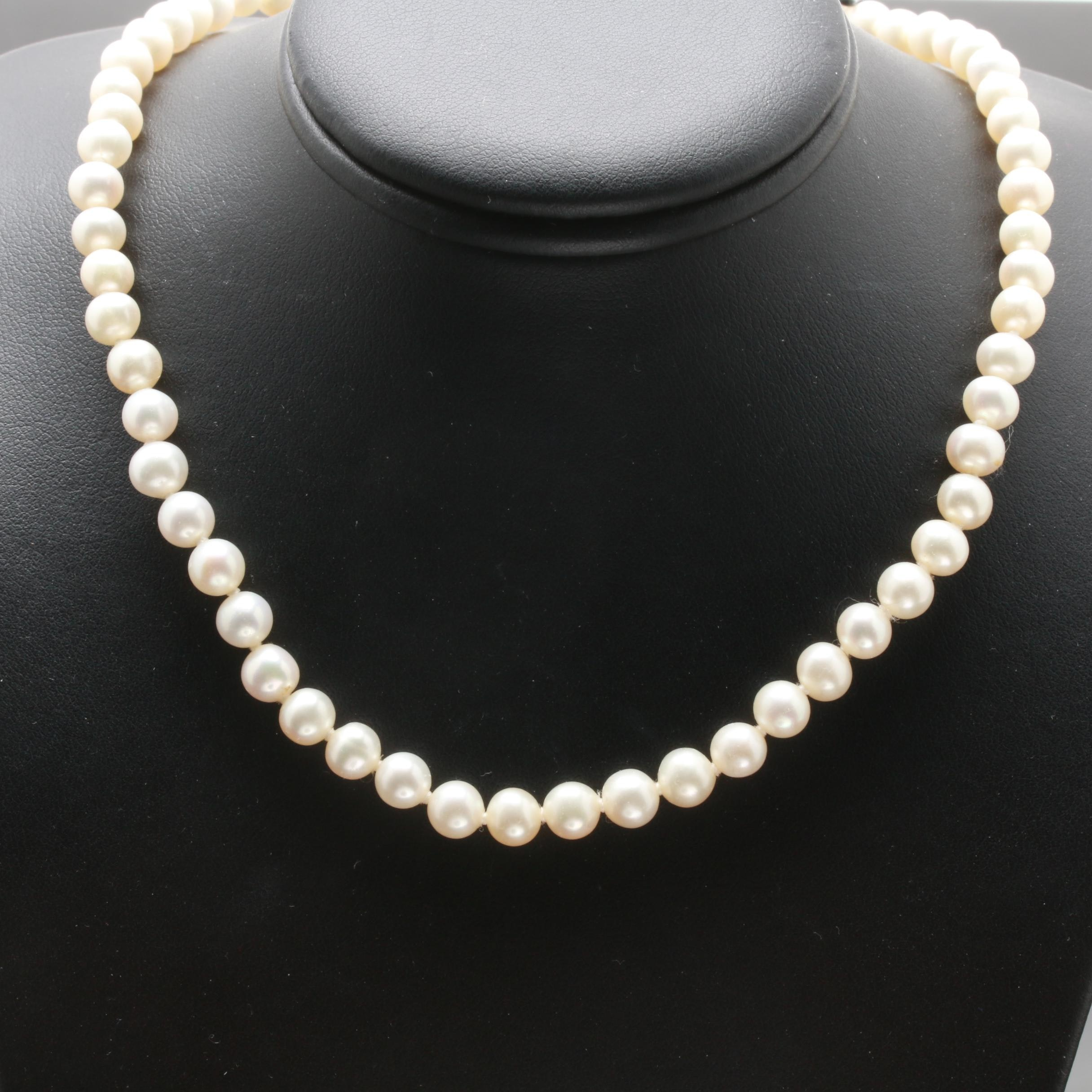 14K Yellow Gold Freshwater Cultured Pearl Single Strand Necklace