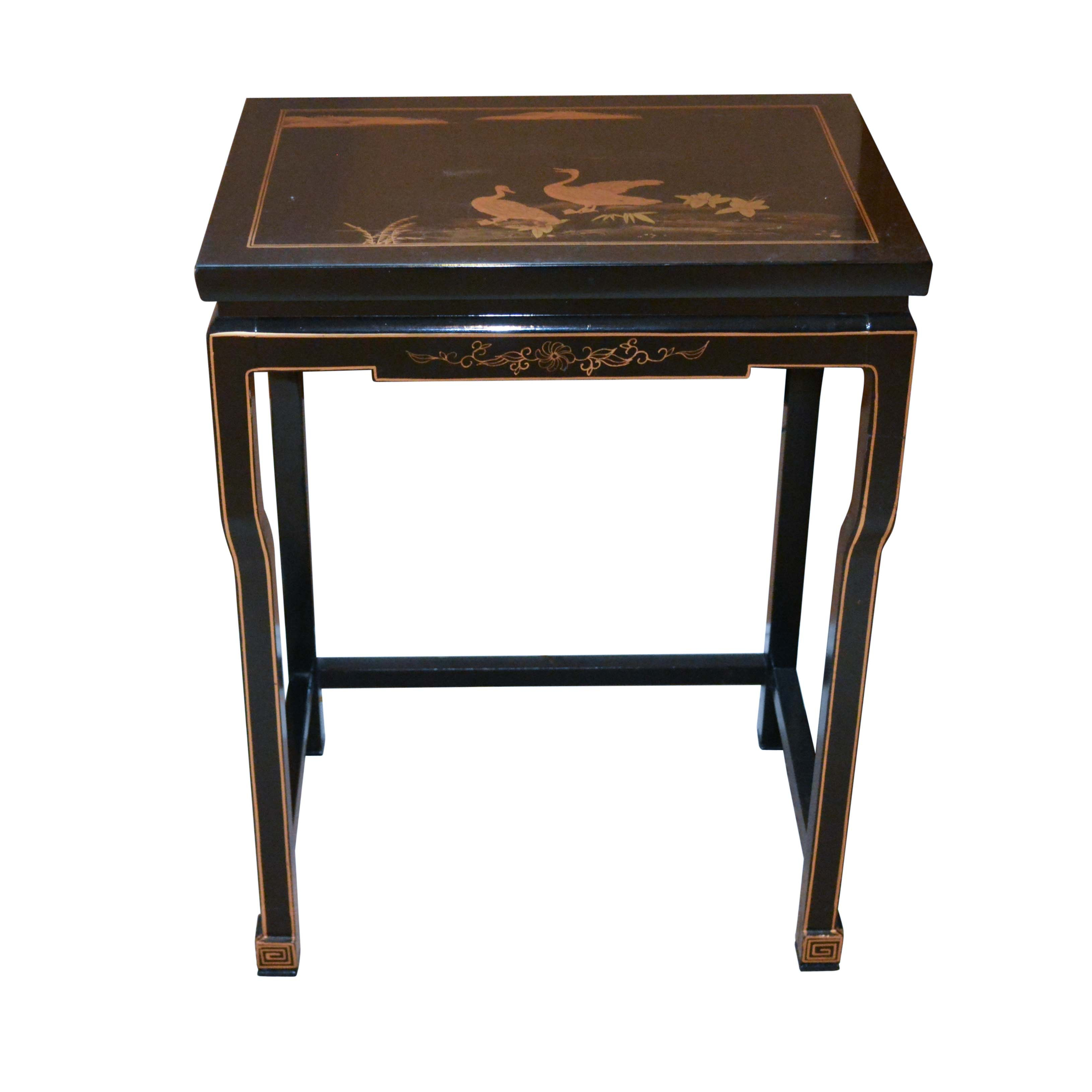 Black Lacquered Side Table with Waterfoul Motif
