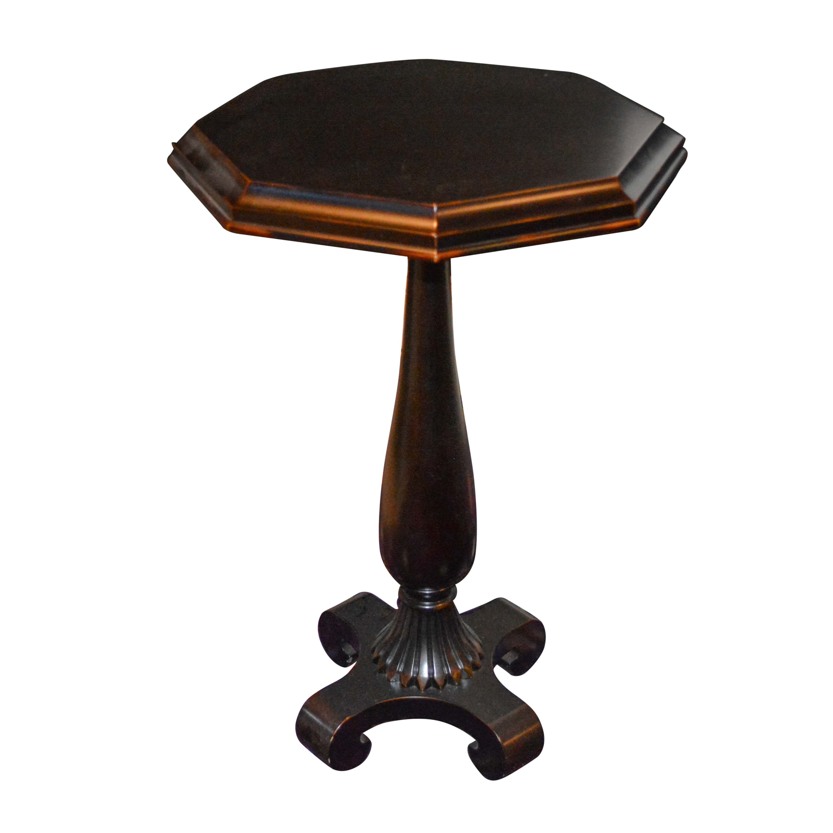 Octagonal Wooden Accent Table with Copper-Toned Accents