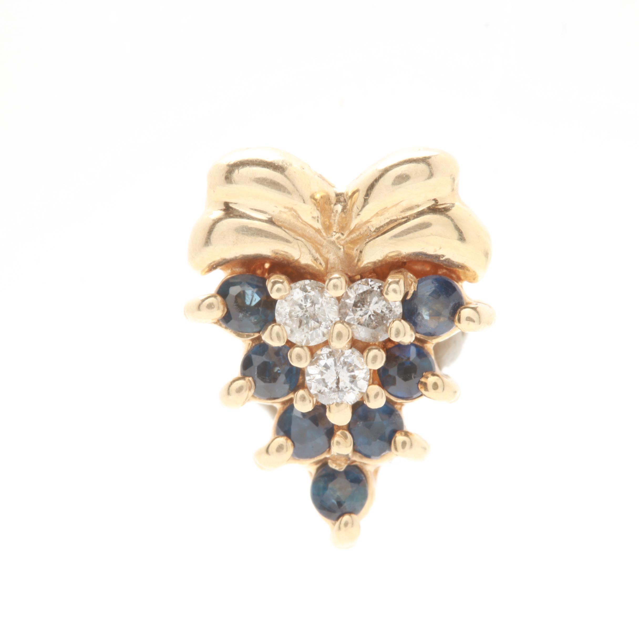 14K Yellow Gold Sapphire and Diamond Slide Pendant