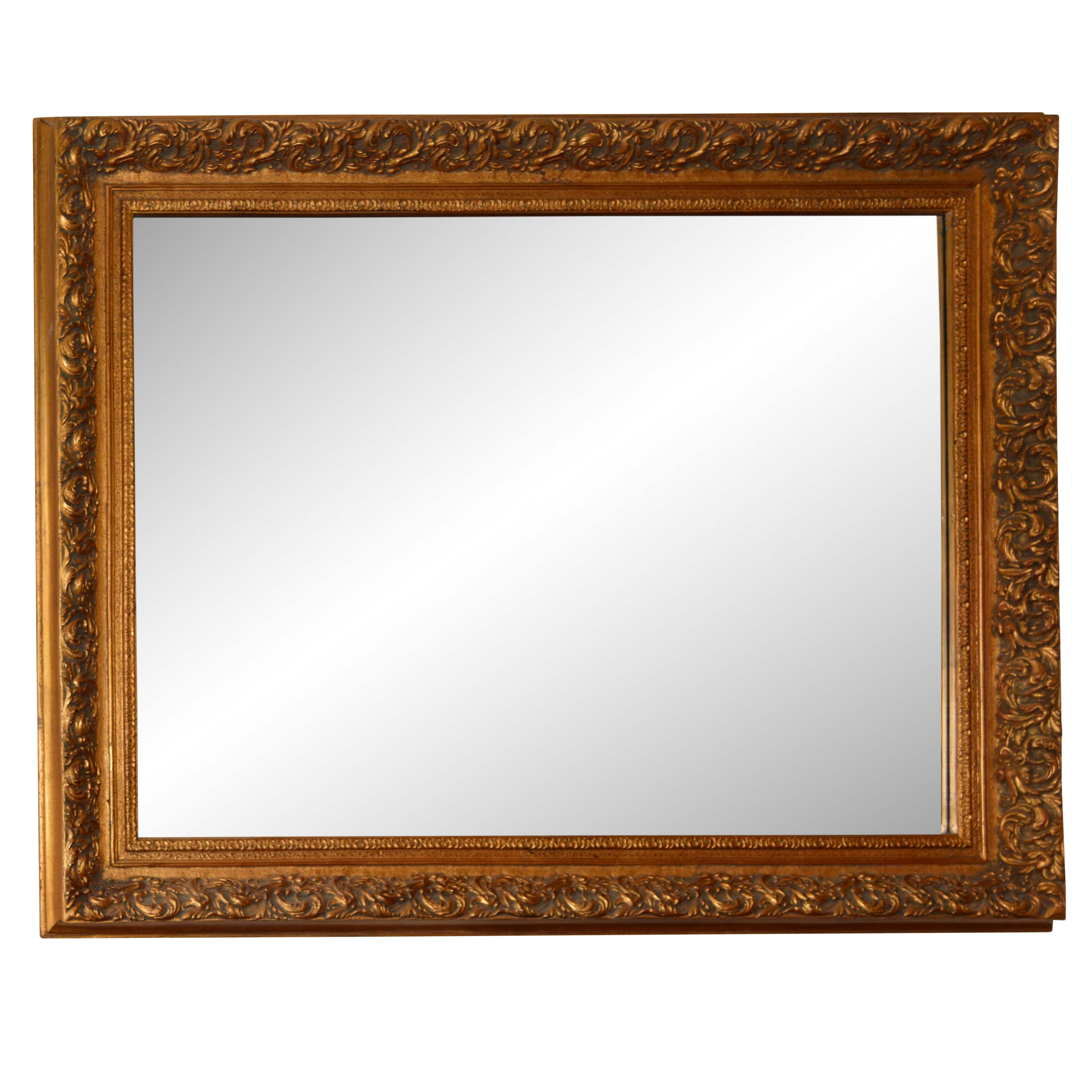 Wood Framed Gold Painted Wall Mirror