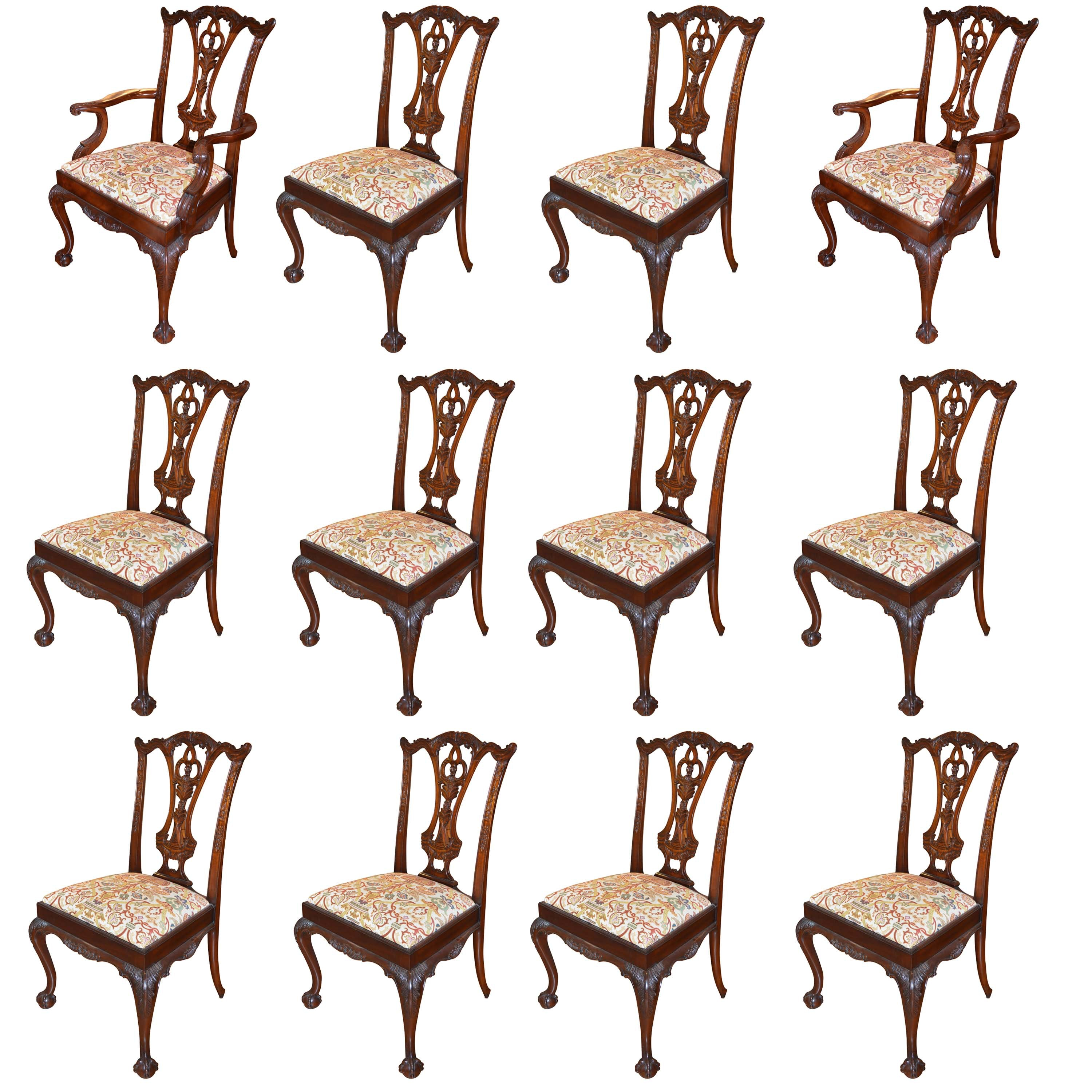 Chippendale Style Set of Twelve Dining Chairs