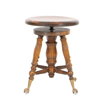 Antique Oak and Glass Ball Feet Piano Stool by Lyon & Healy - Online Furniture Auctions Vintage Furniture Auction Antique