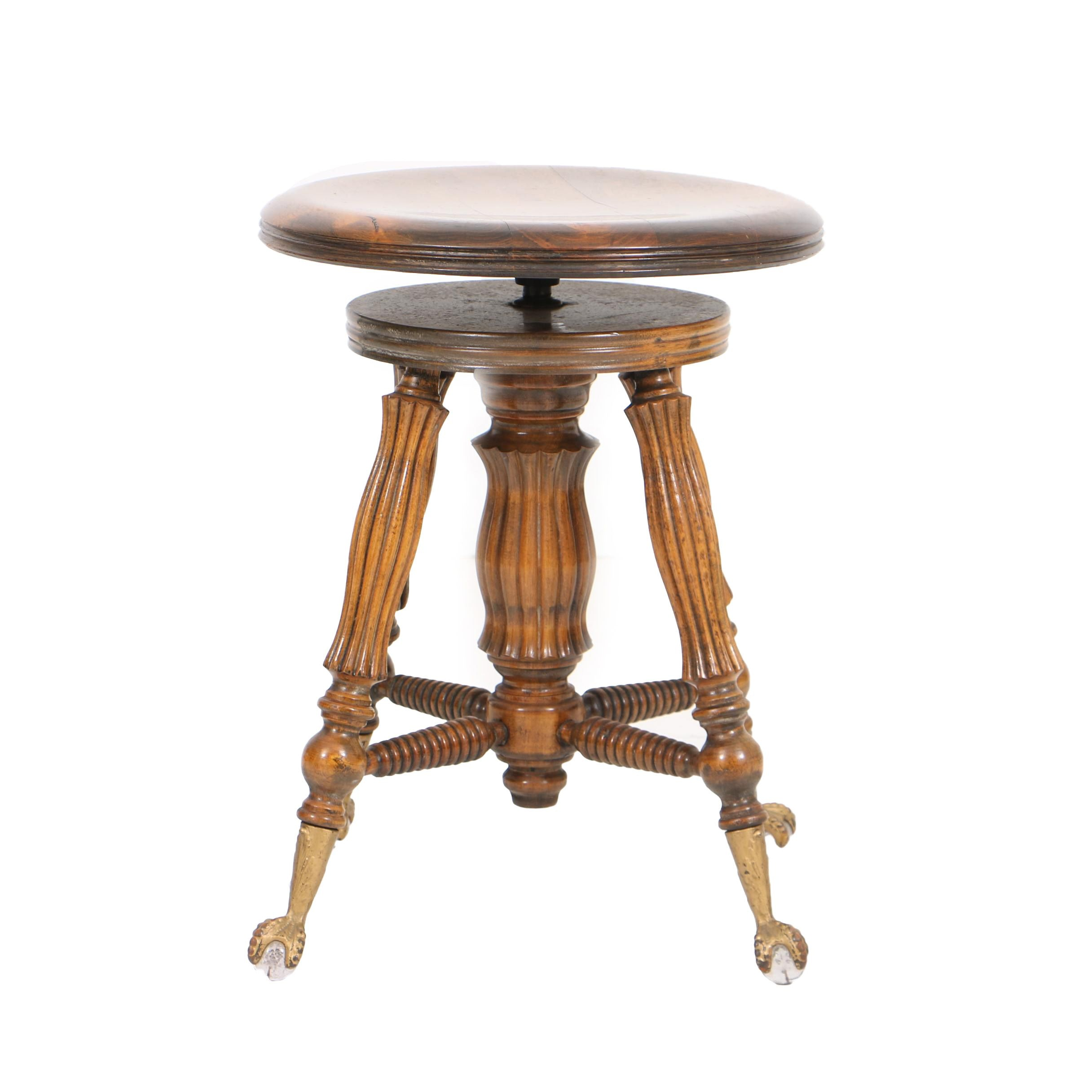 Antique Oak and Glass Ball Feet Piano Stool by Lyon & Healy
