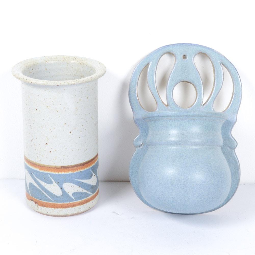 Contemporary Stoneware Art Pottery Wall Pocket and Vase