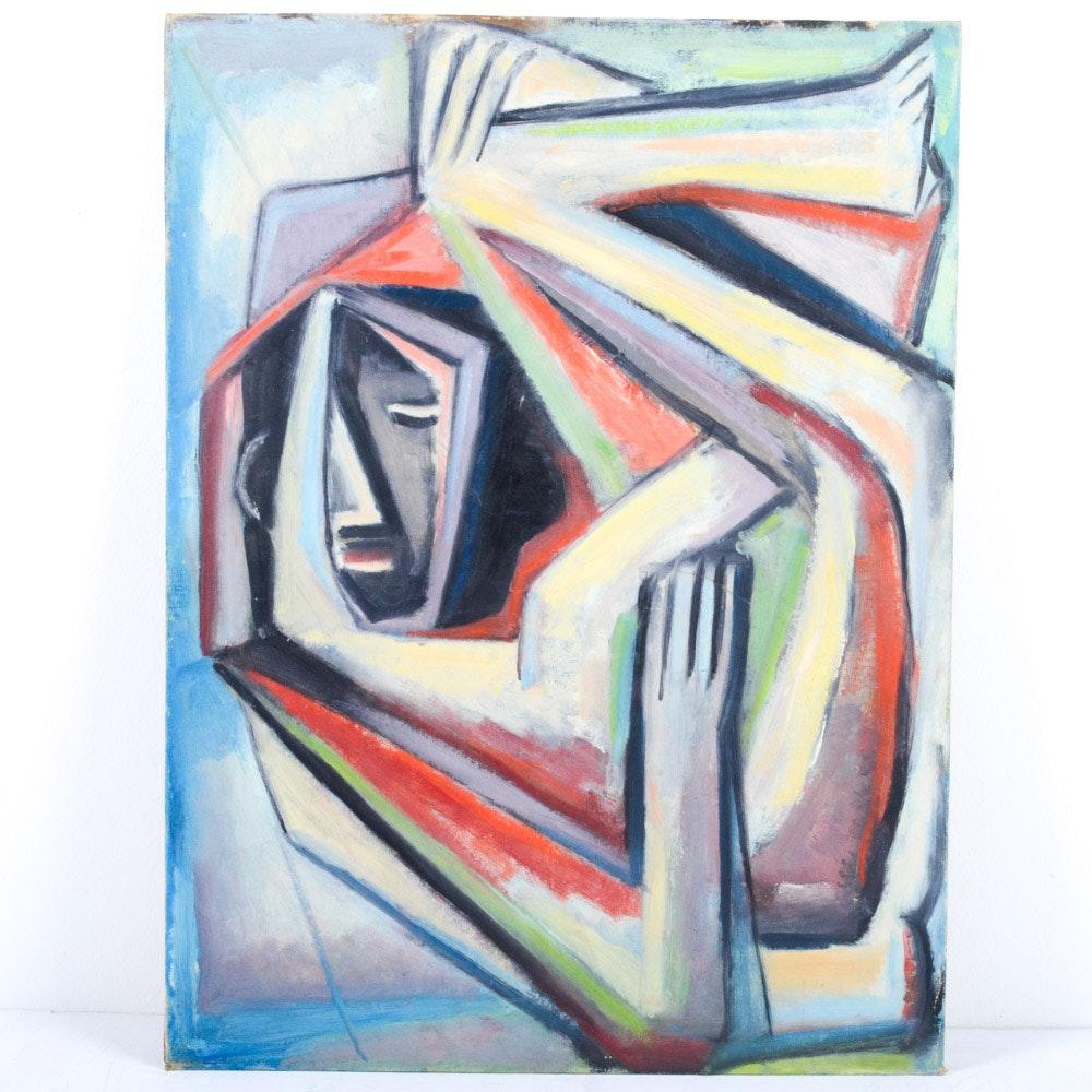 James Yoko Oil on Board Abstract Portrait