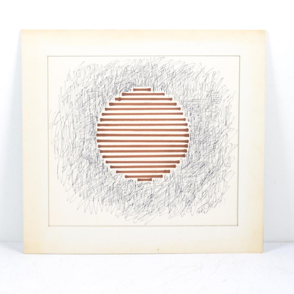 """James Yoko Ink on Paper """"Striped Circle"""""""