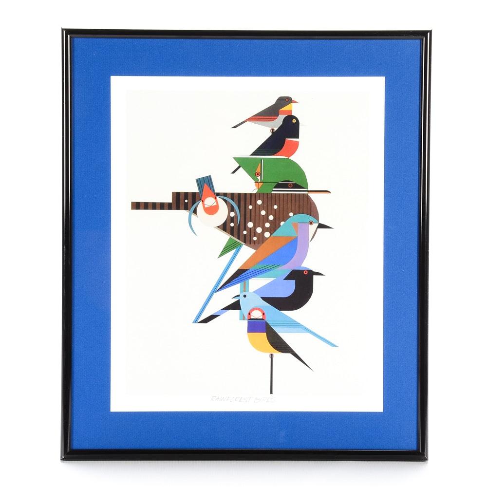 "Offset Lithograph After Charley Harper's ""Rainforest Birds"""