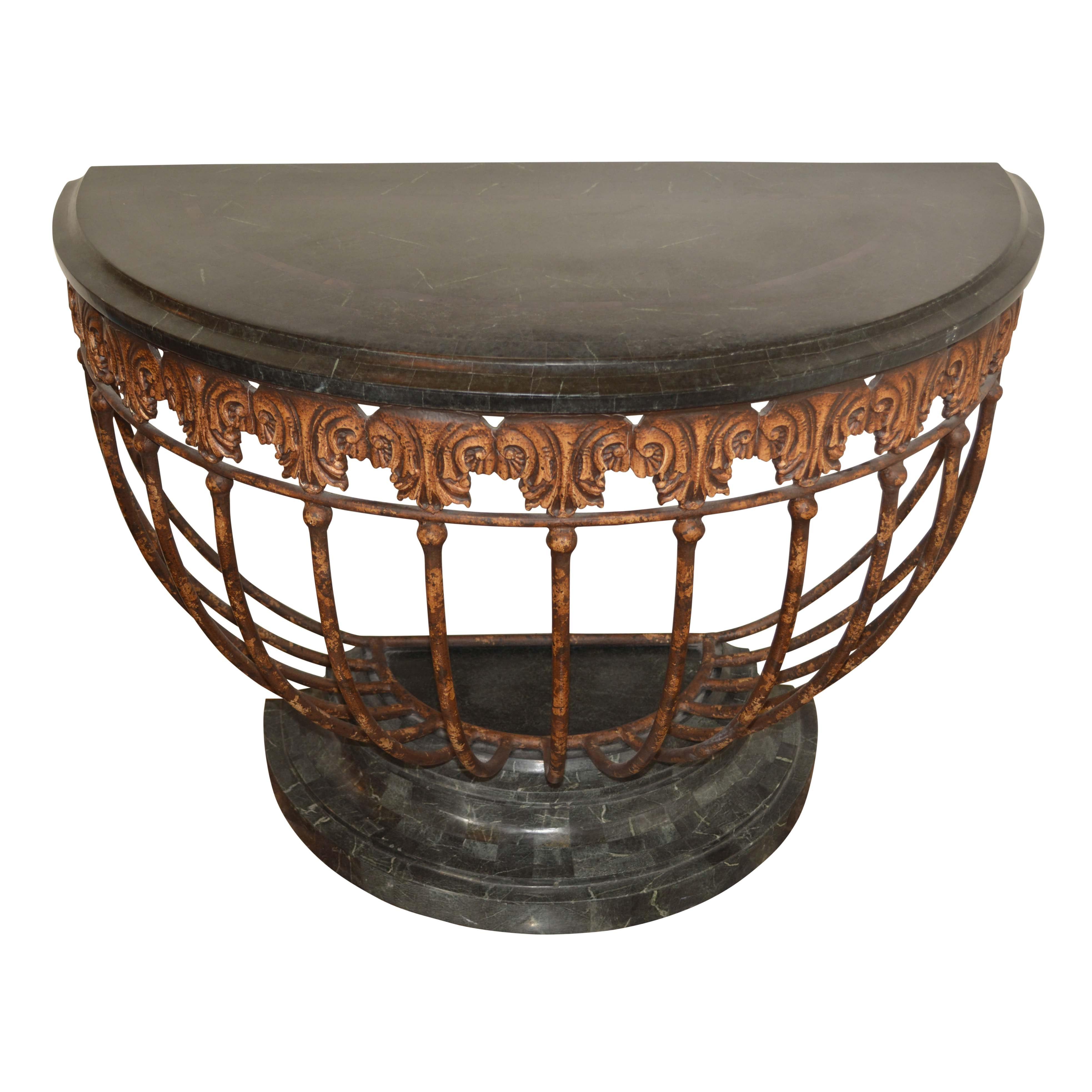 Stone Top Demilune Table