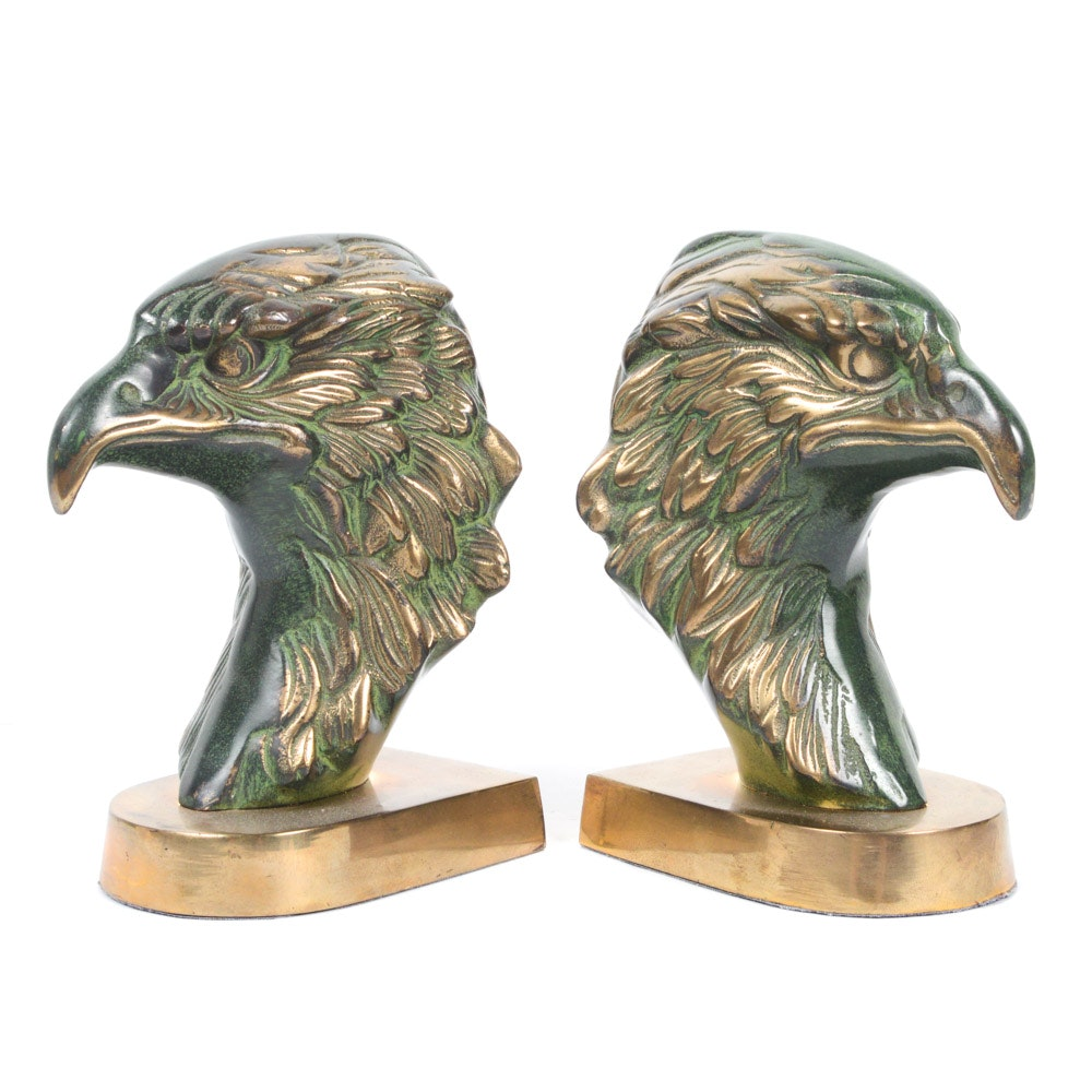 Vintage Brass Eagle Bust Bookends