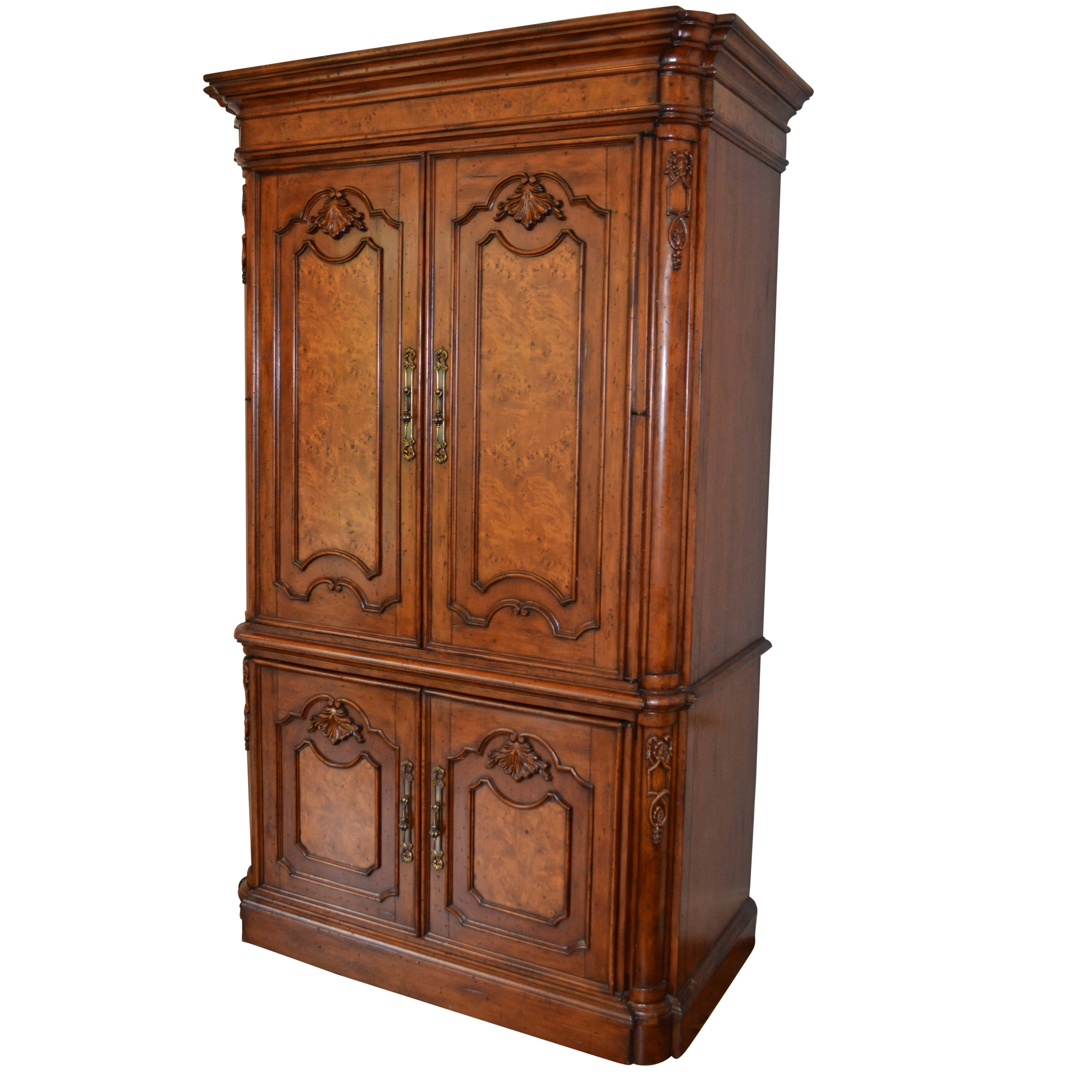 Burl Laminate French Provincial Style Entertainment Armoire