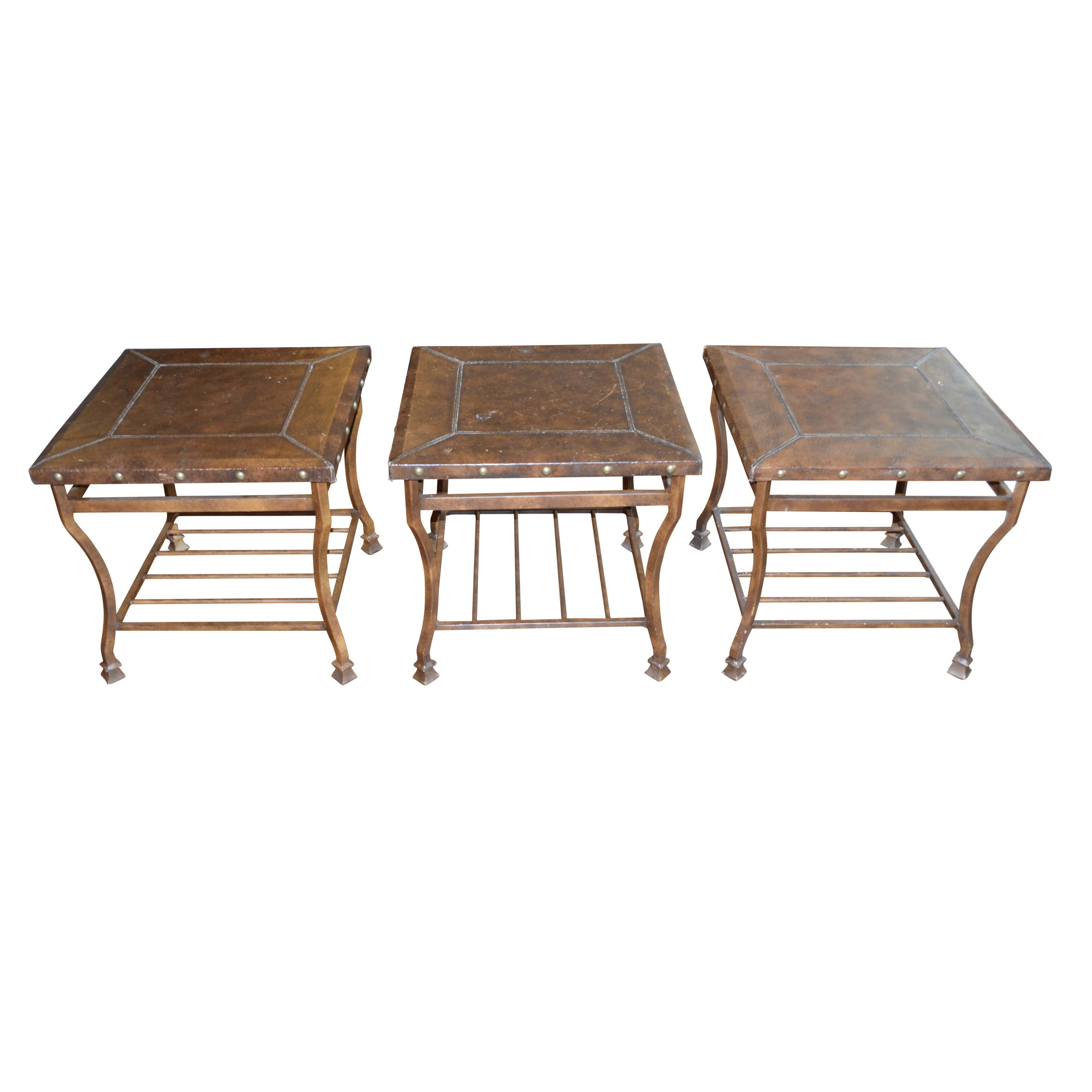 Faux Leather and Metal Side Tables