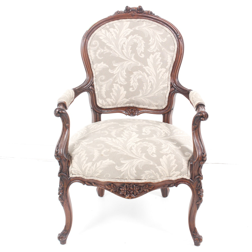 French Provincial Walnut Armchair