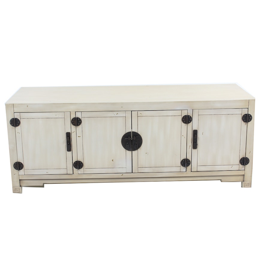 Chinese Inspired White TV Stand From Pier EBTH - Pier 1 tv console table
