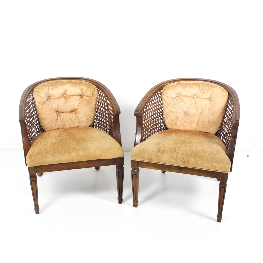 Vintage Cane Back Barrel Chairs