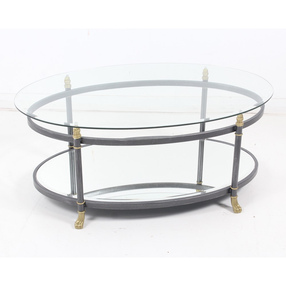 Contemporary Oval Glass Top Coffee Table