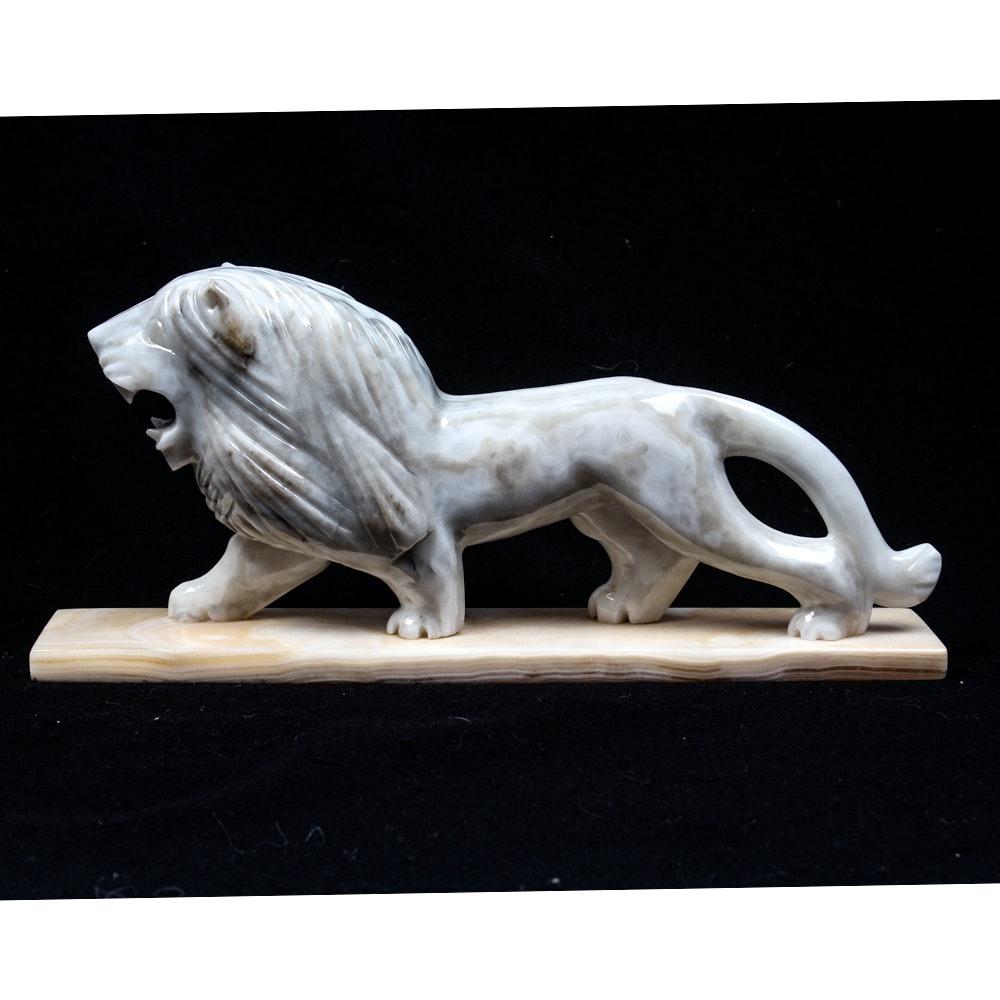 Vintage Carved Alabaster Lion Sculpture