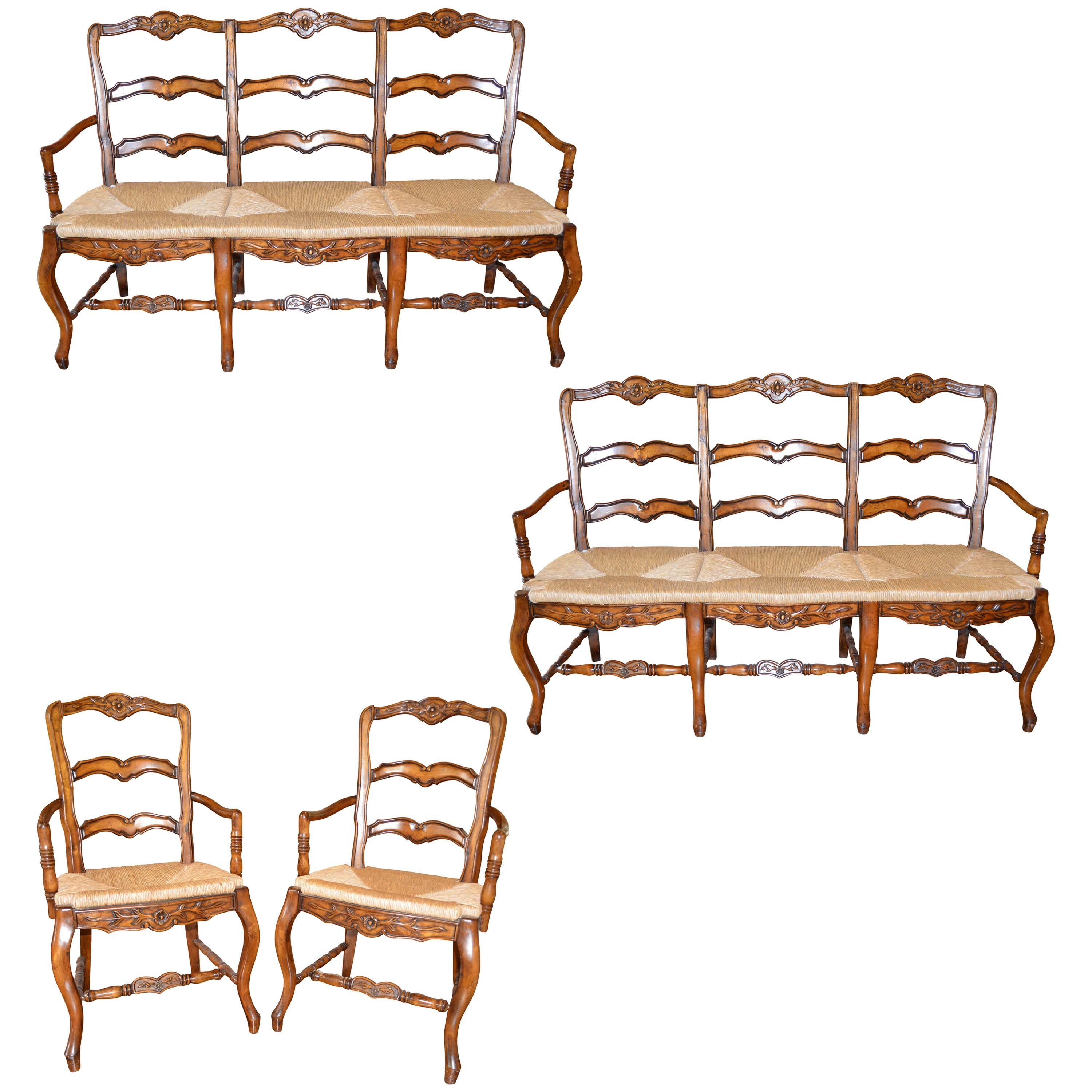 French Provincial Style Ladder Back Pair of Benches and Pair of Armchairs