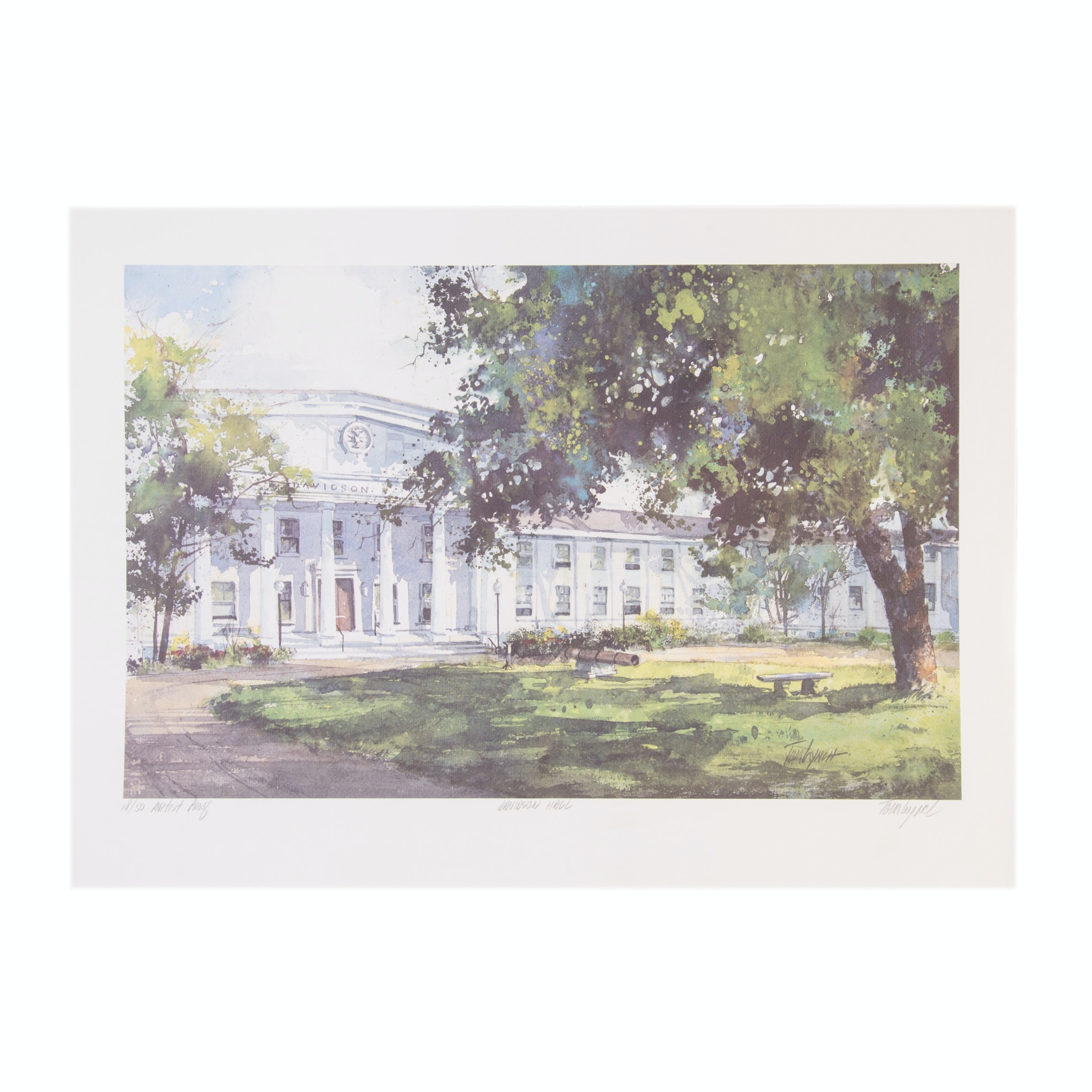 "Tom Lynch Limited Edition Artist Proof Offset Lithograph ""Davidson Hall"""