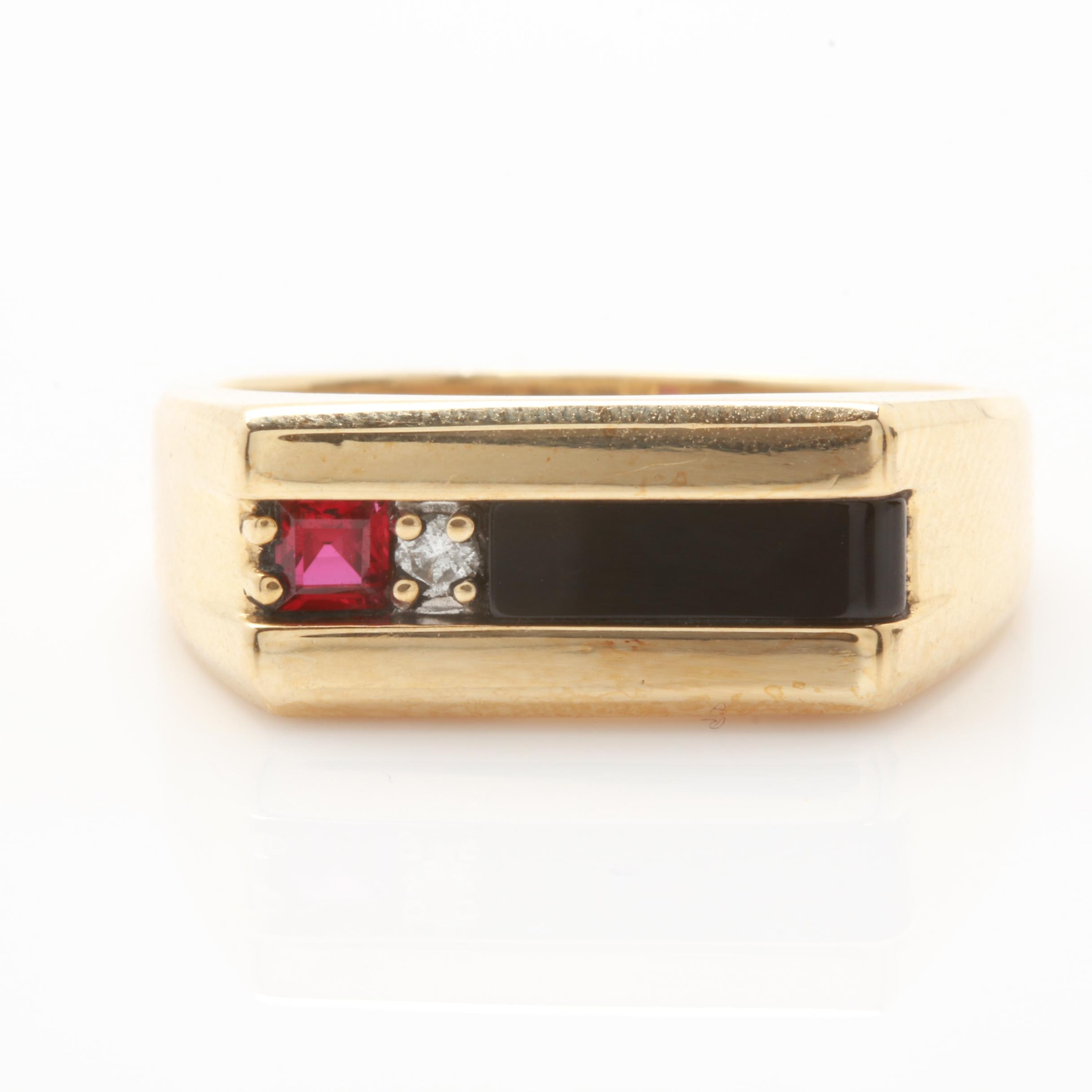 10K Yellow Gold Onyx Ring with a Synthetic Ruby and Diamond Accent