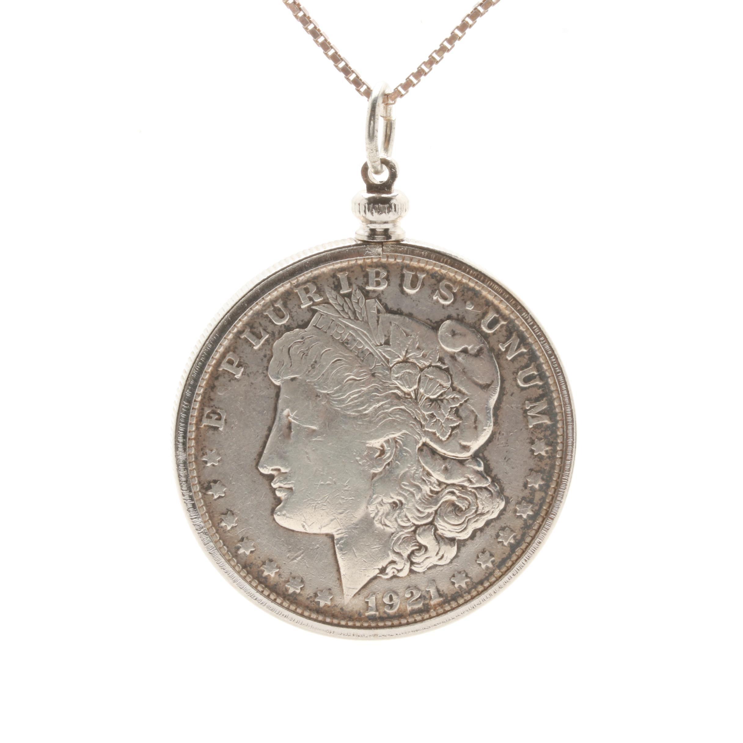 Sterling Silver 1921-S Morgan Silver Dollar Pendant Necklace